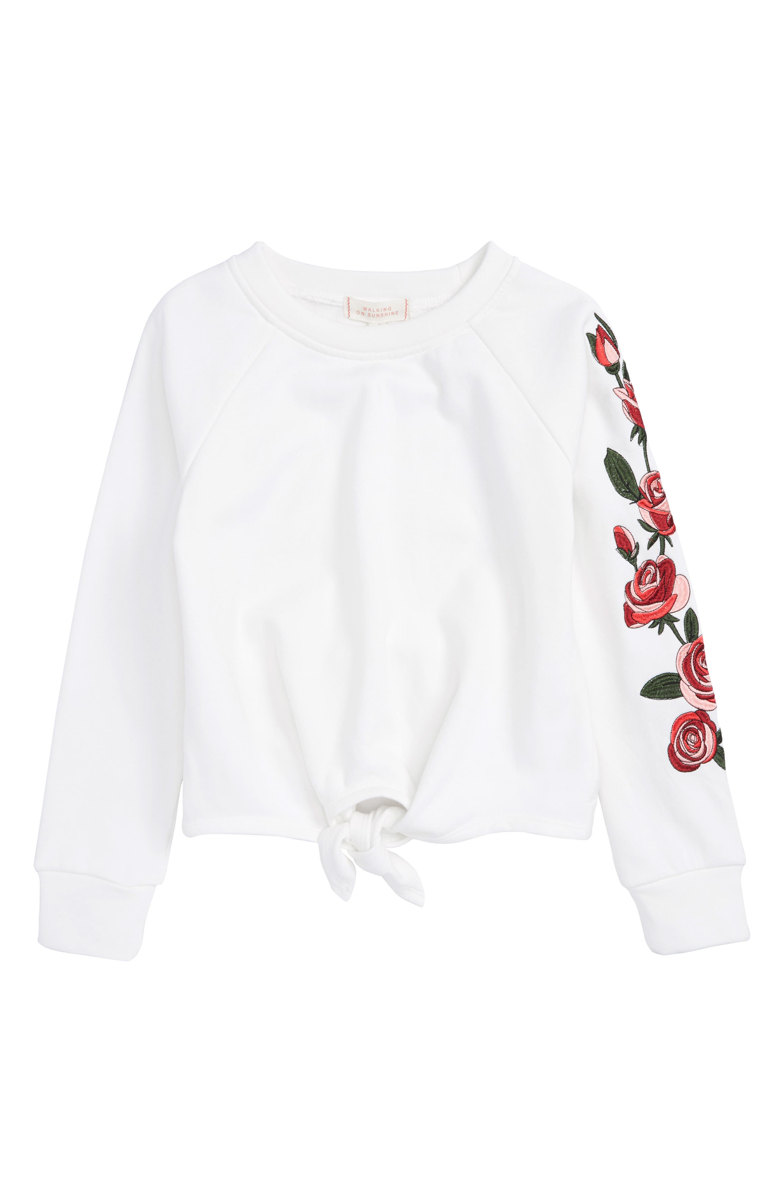 Walking on Sunshine Tie Front Embroidered Sweatshirt (Big Girls)