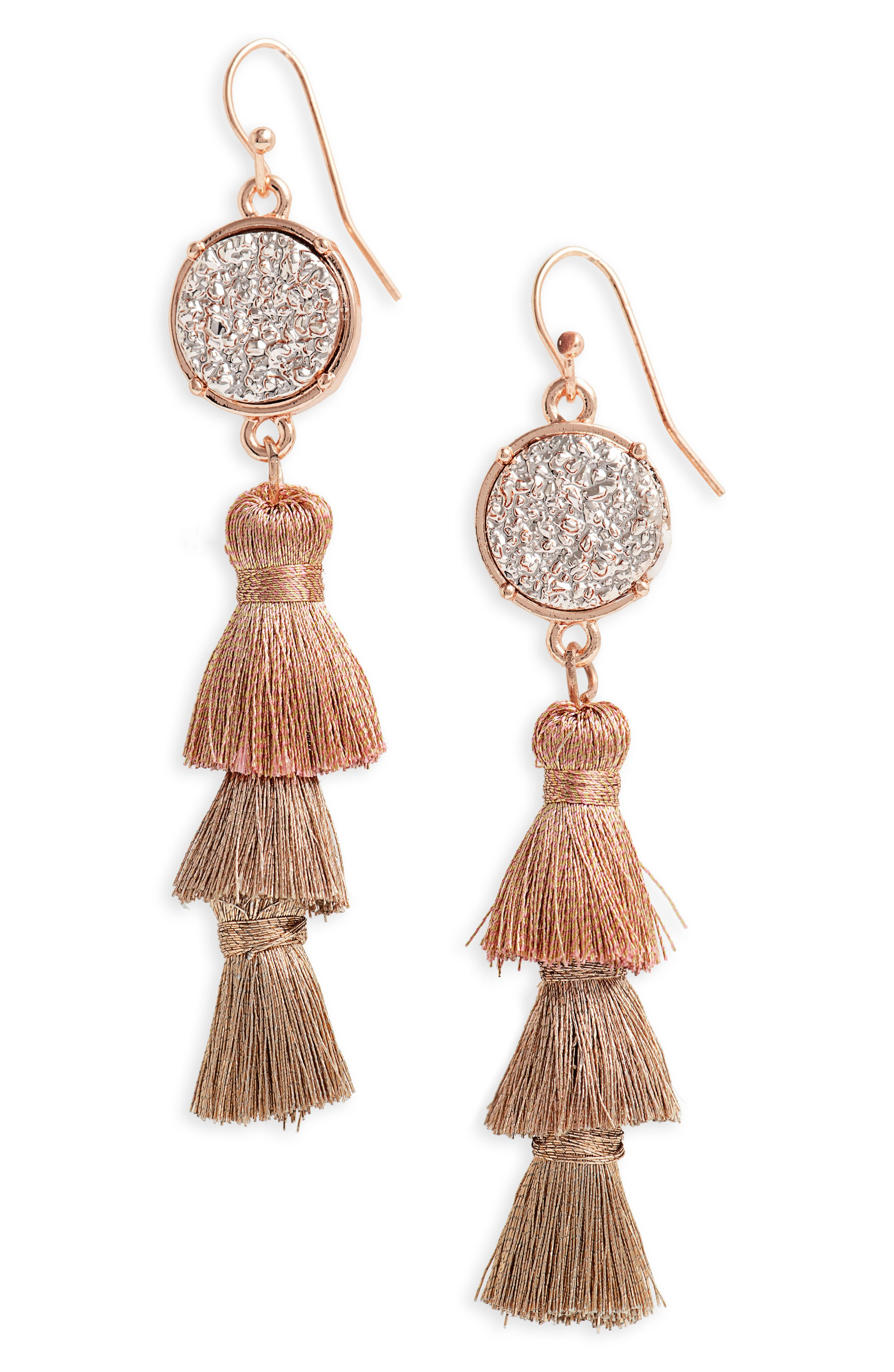 Faux Drusy Stacked Tassel Statement Earrings,                         Main,                         color, Rose