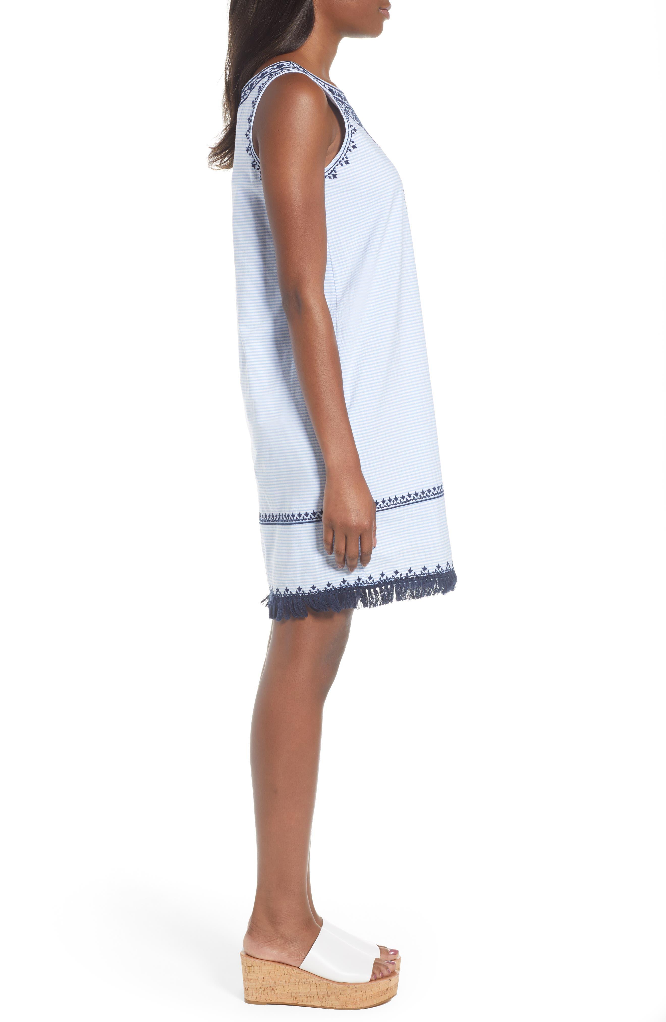 Embroidered Stripe Shift Dress,                             Alternate thumbnail 3, color,                             Hydrangea
