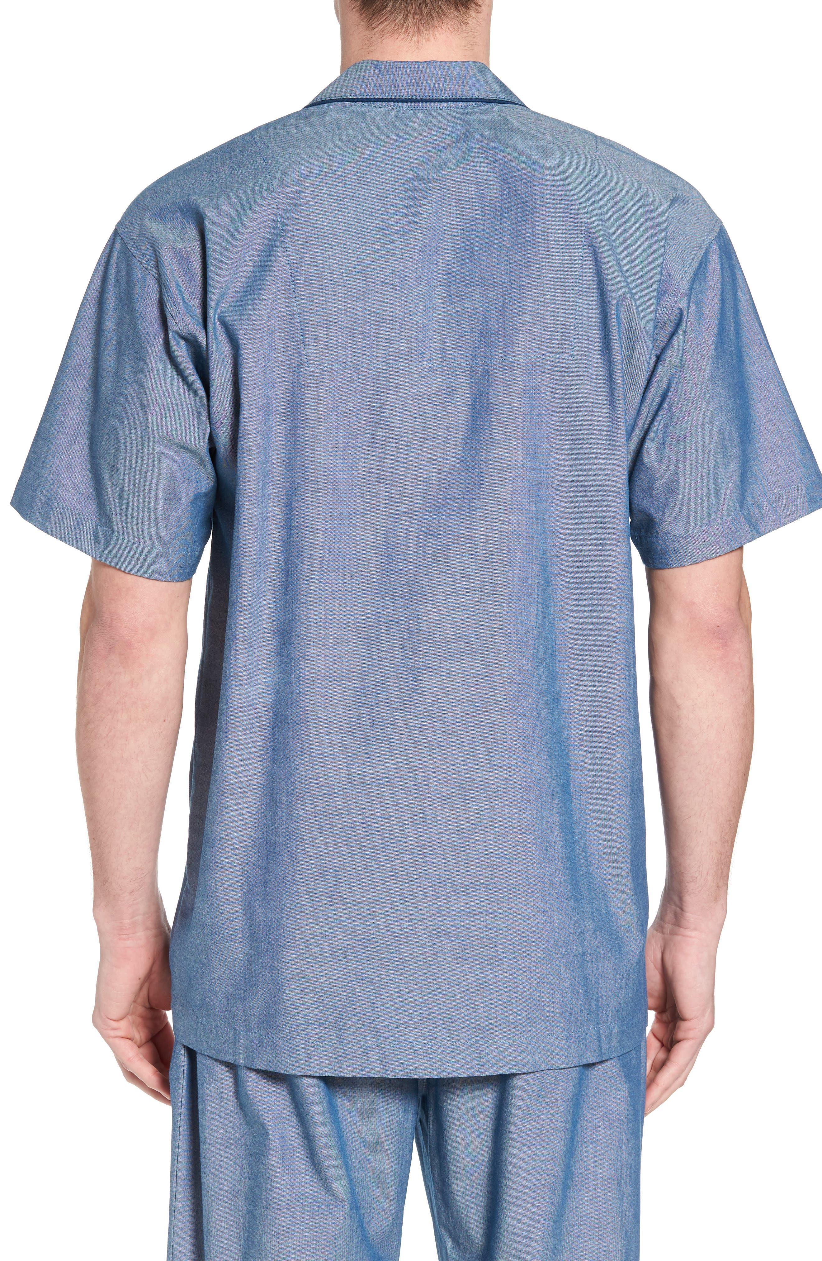 Cotton Pajama Shirt,                             Alternate thumbnail 2, color,                             Medium Indigo/ Dark Indigo