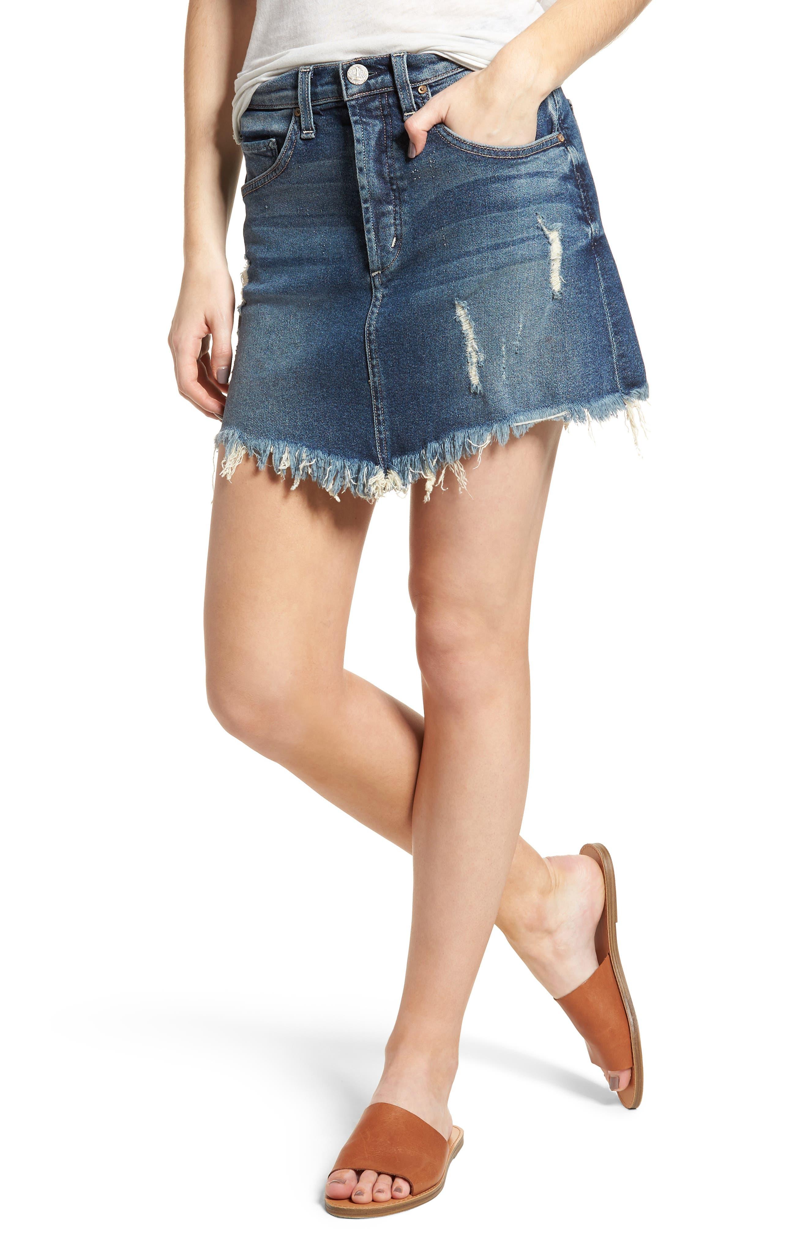 Izabel Angled Hem Denim Skirt,                         Main,                         color, Minionette