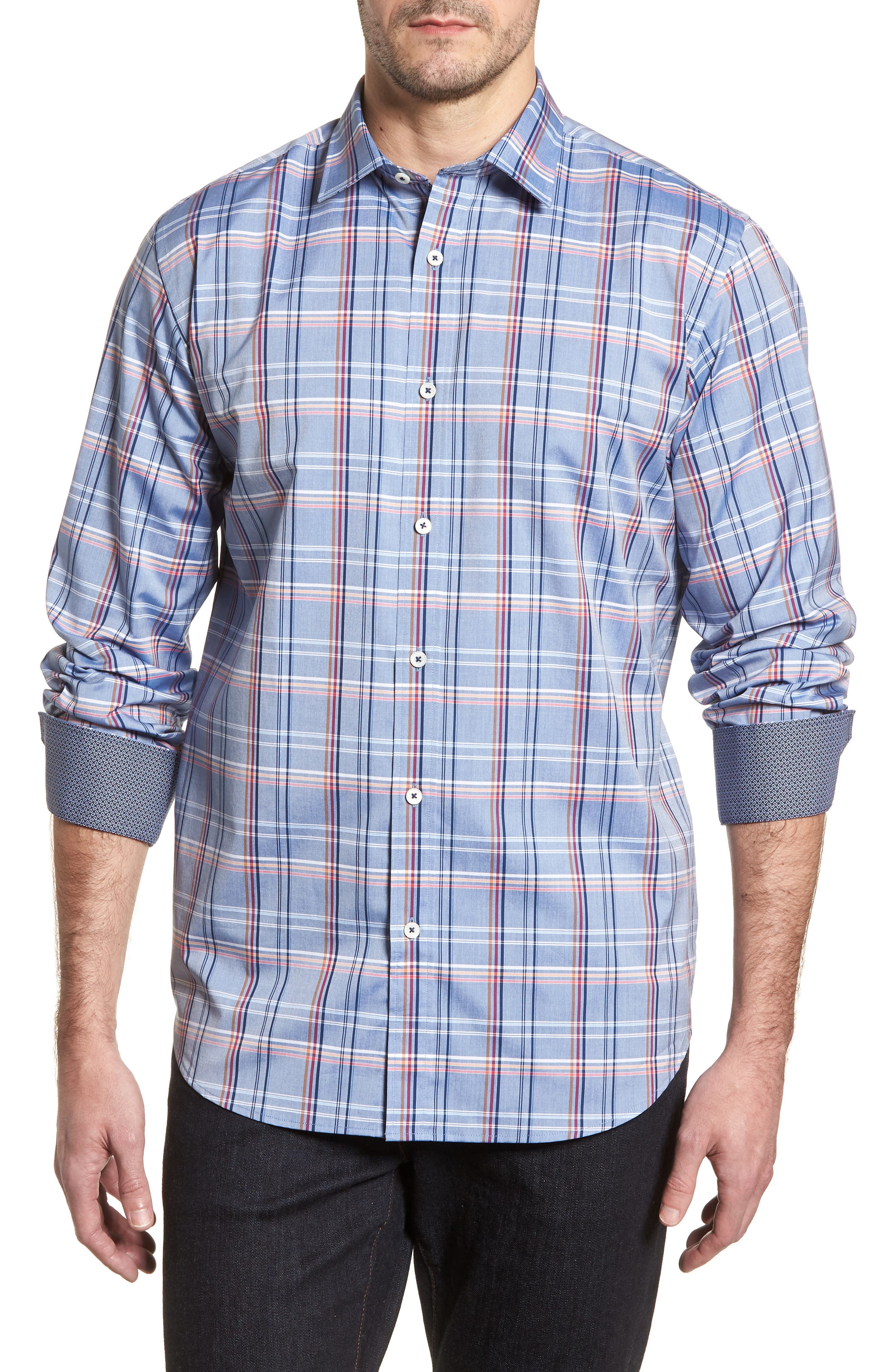 Classic Fit Urban Plaid Sport Shirt,                         Main,                         color, Steel