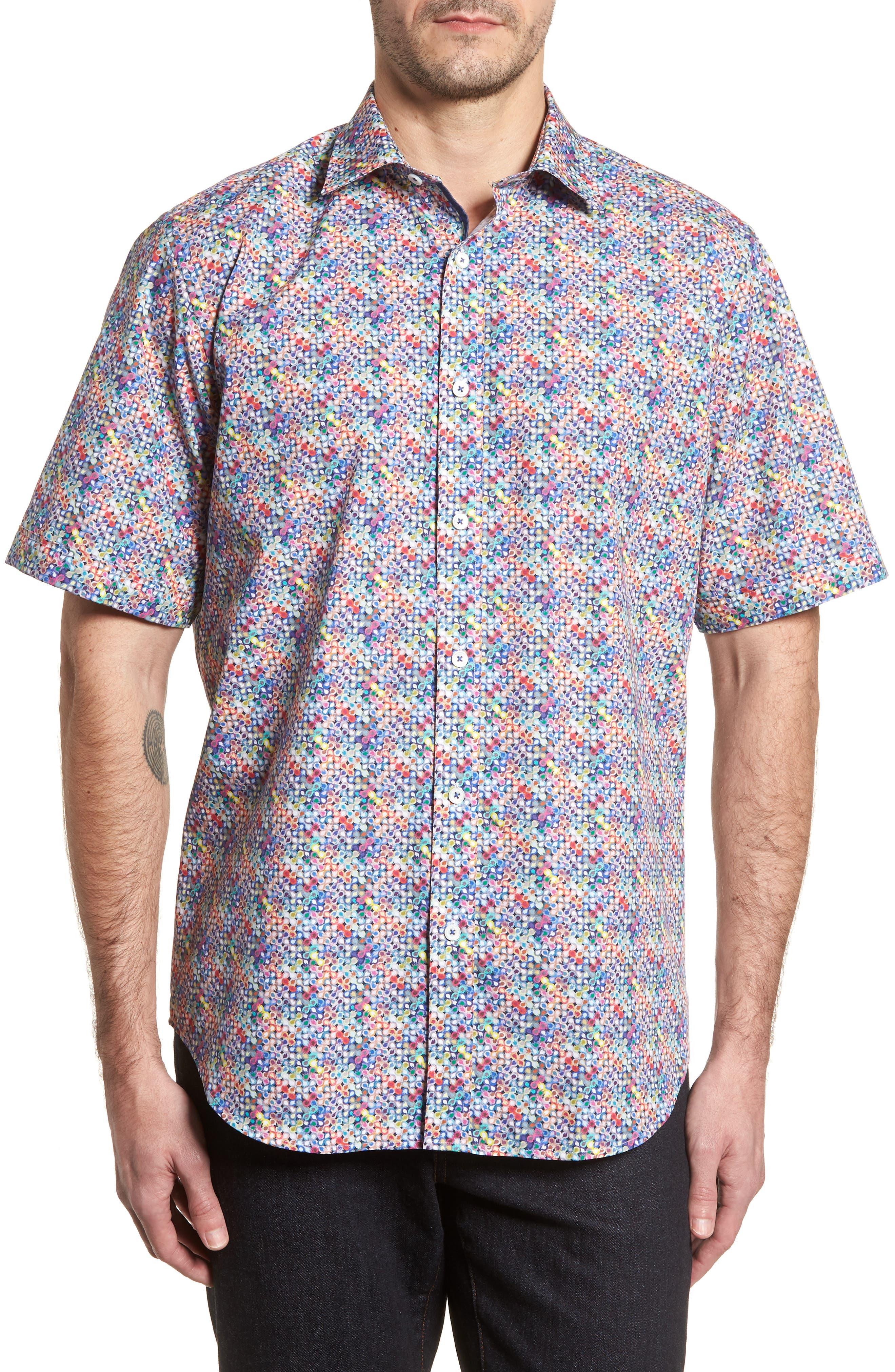 Classic Fit Flashy Fireballs Sport Shirt,                         Main,                         color, Periwinkle