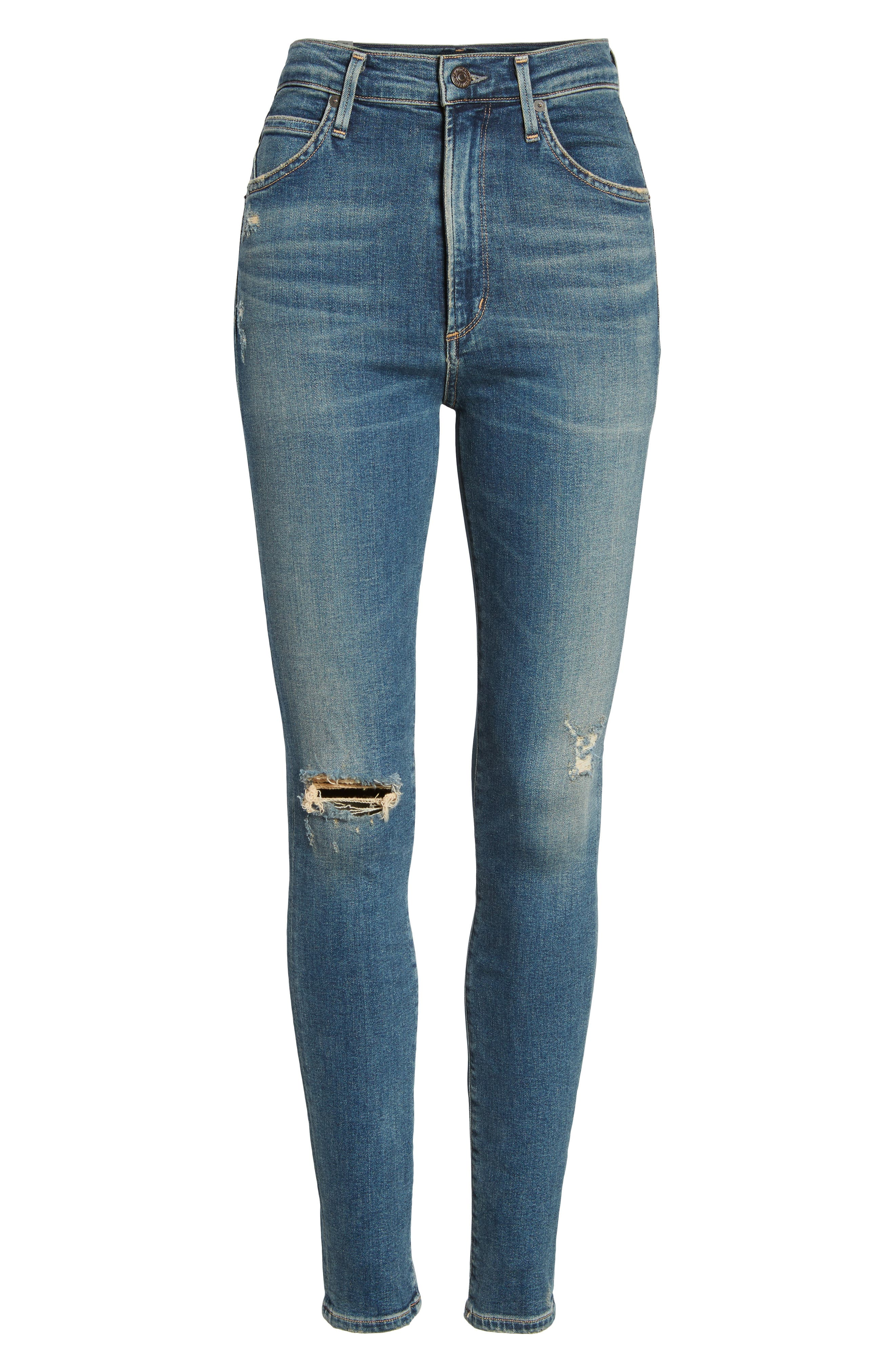 Chrissy High Waist Skinny Jeans,                             Alternate thumbnail 7, color,                             Roulette