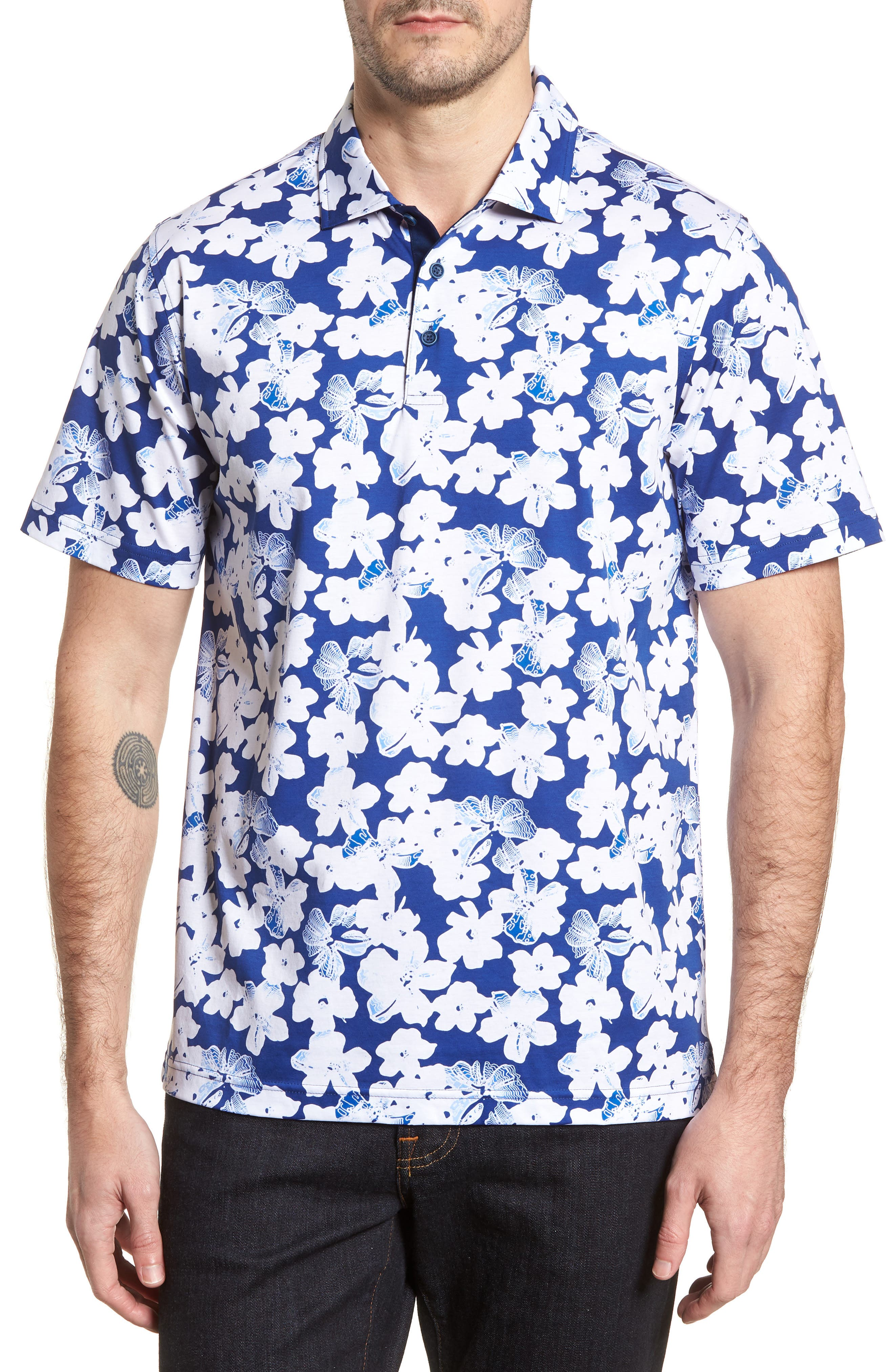 Classic Fit Floral Blueprint Polo,                         Main,                         color, Royal