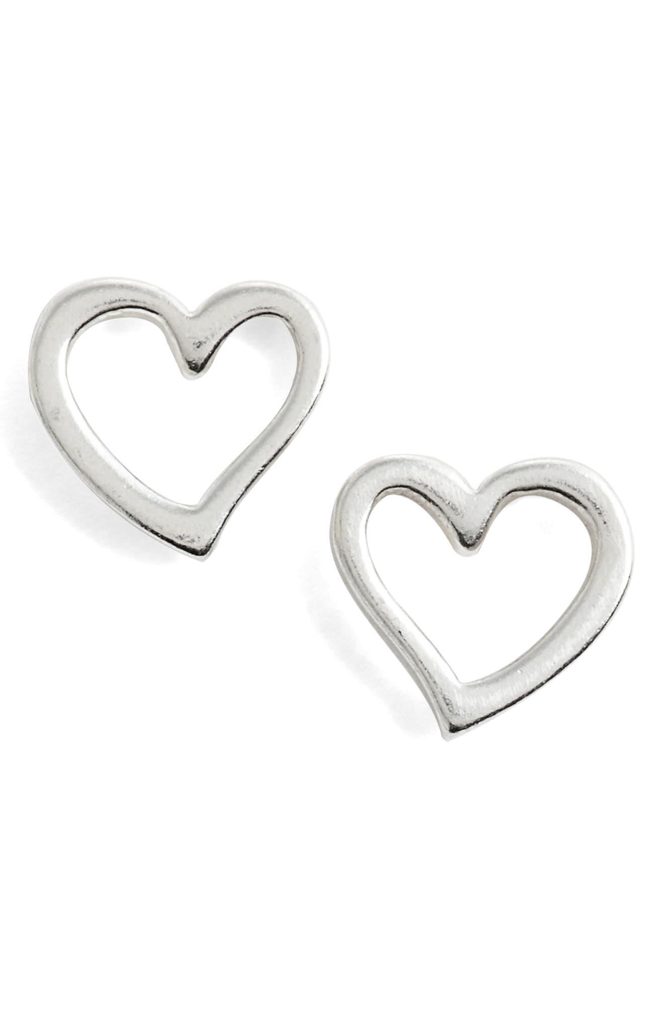 Heart Earrings,                             Main thumbnail 1, color,                             Silver