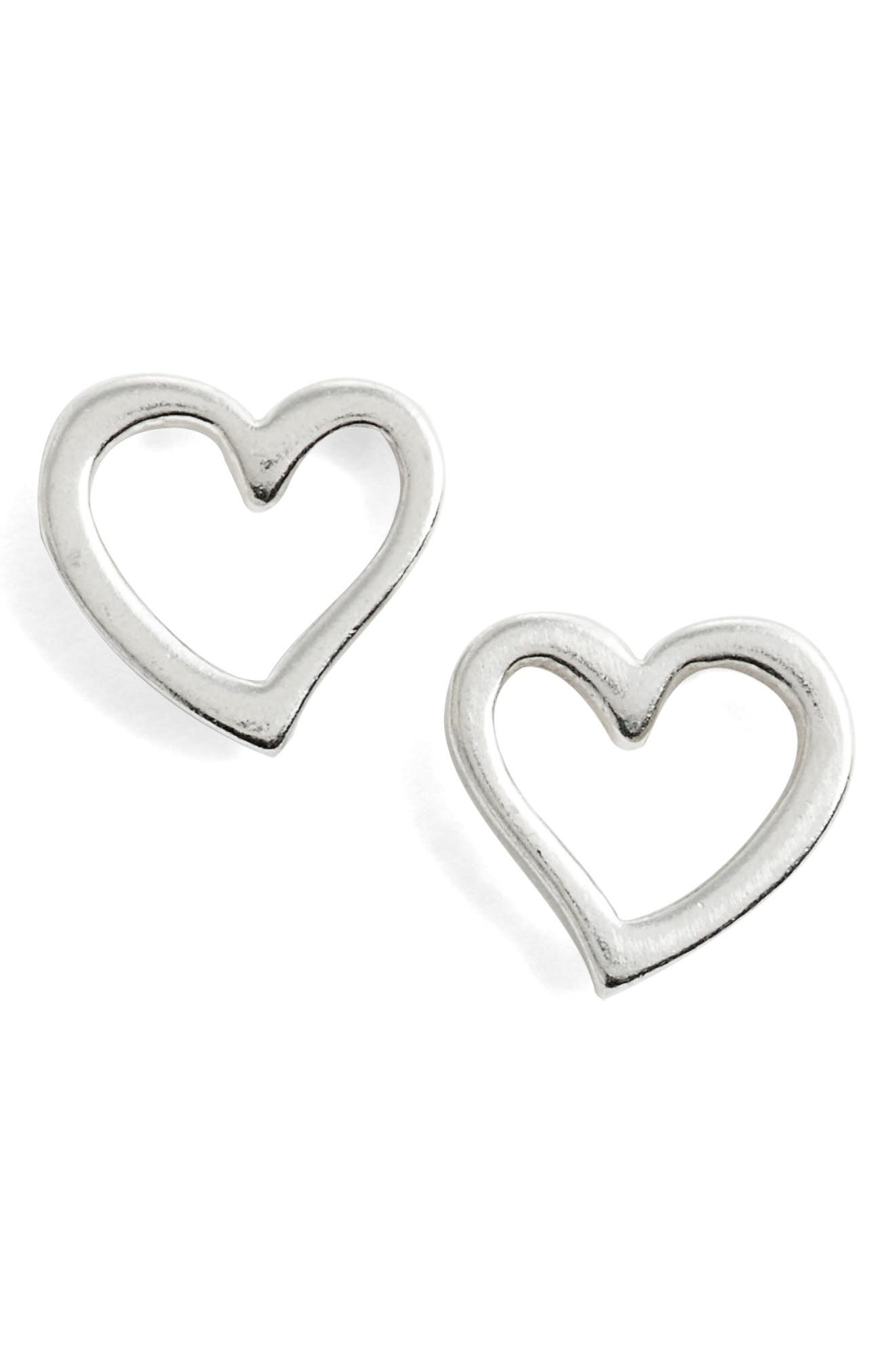 Heart Earrings,                         Main,                         color, Silver