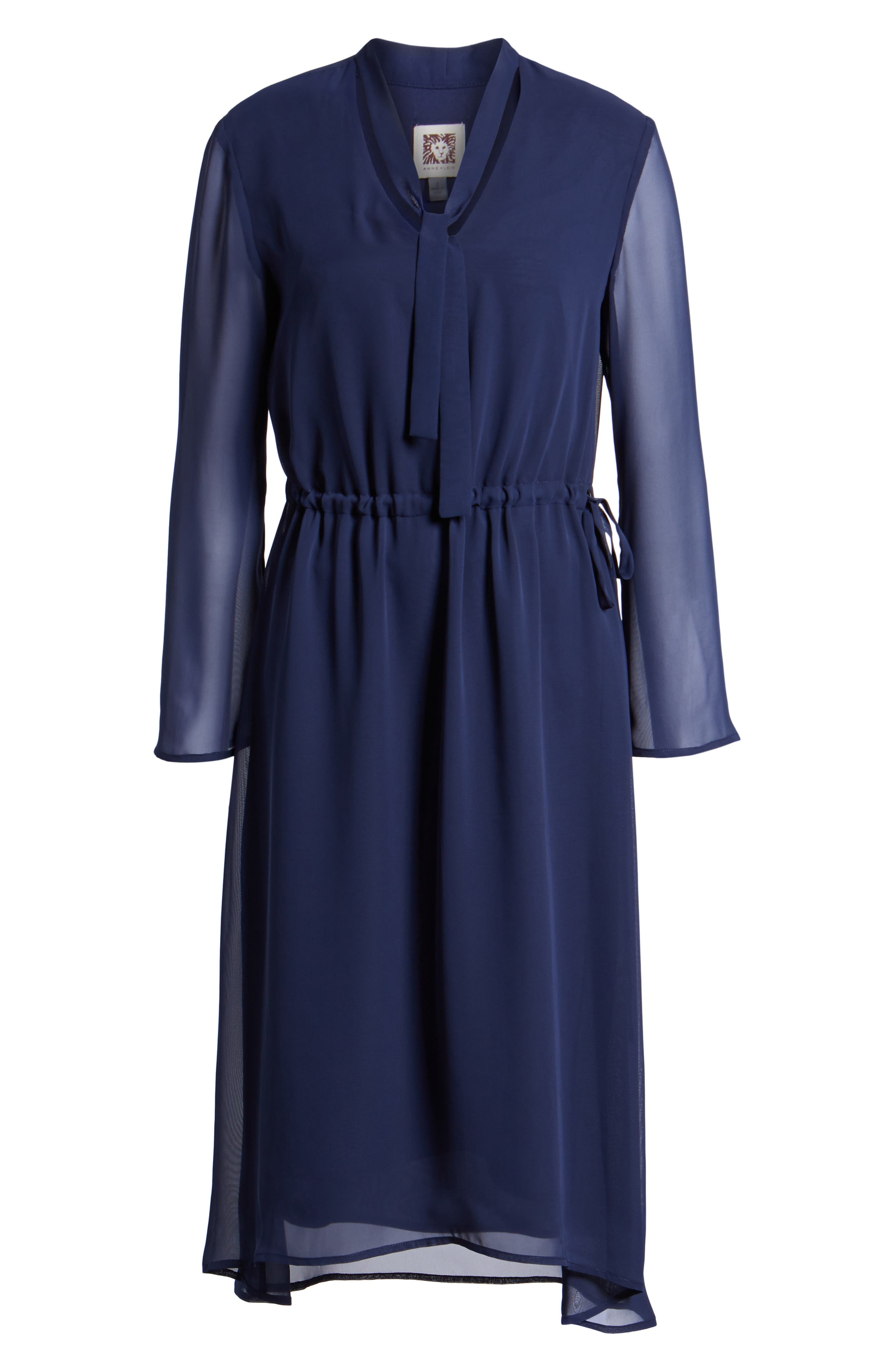 Sheer Overlay Tie Dress,                             Alternate thumbnail 6, color,                             Breton Blue