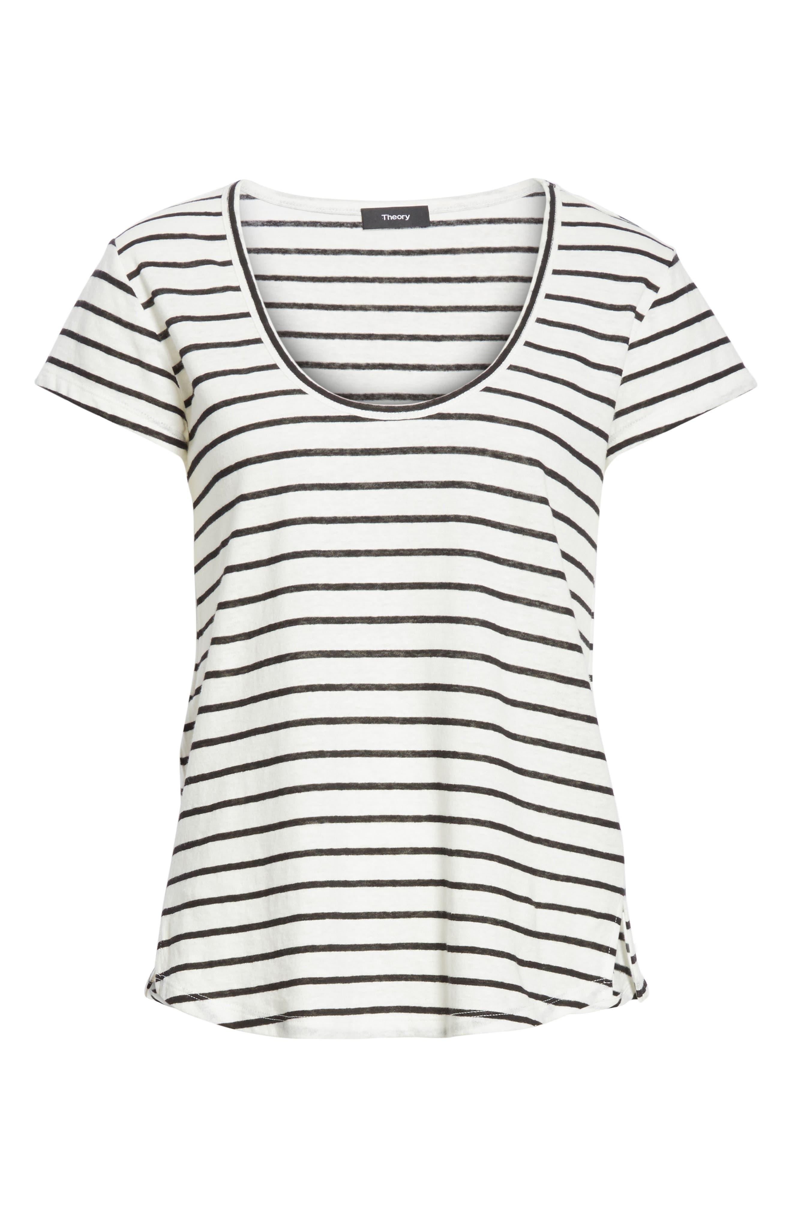 Navigate Stripe Linen Cotton Tee,                             Alternate thumbnail 6, color,                             White/ Black