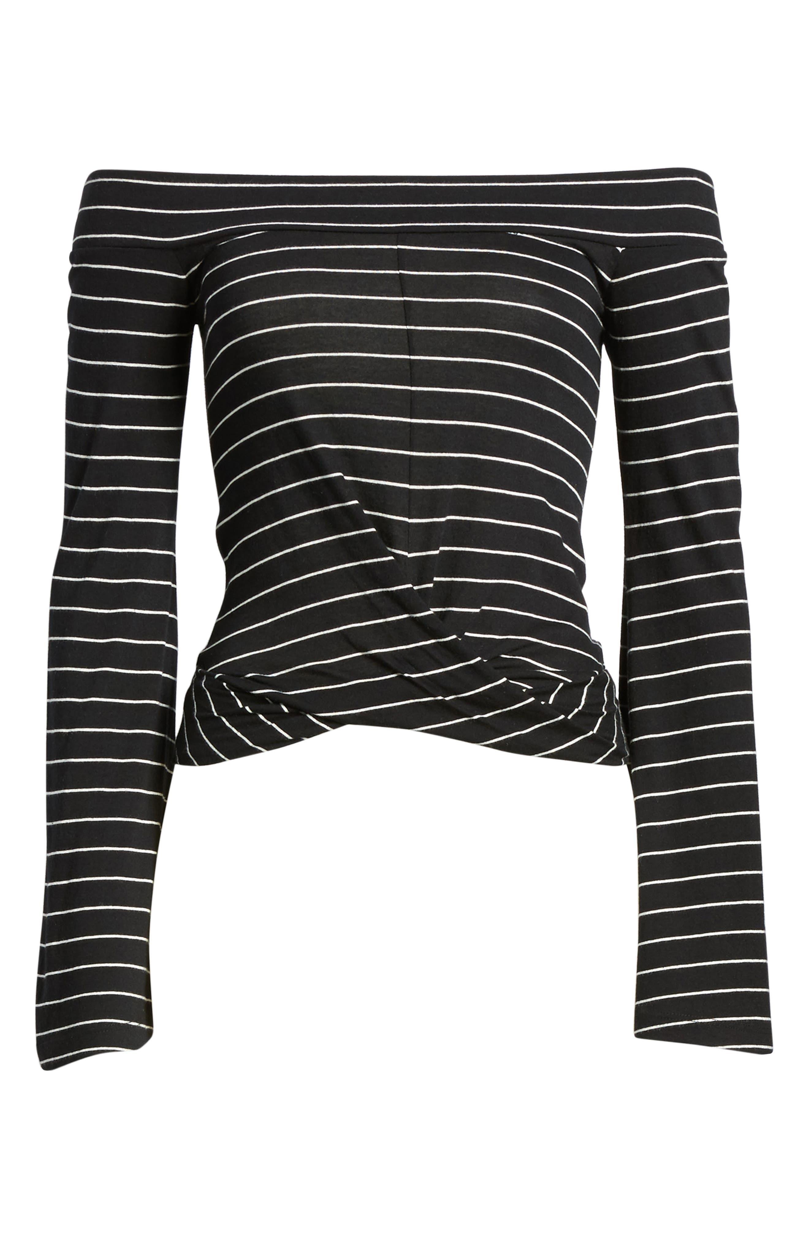 Stripe Twist Front Off the Shoulder Top,                             Alternate thumbnail 7, color,                             Black Jess Strp