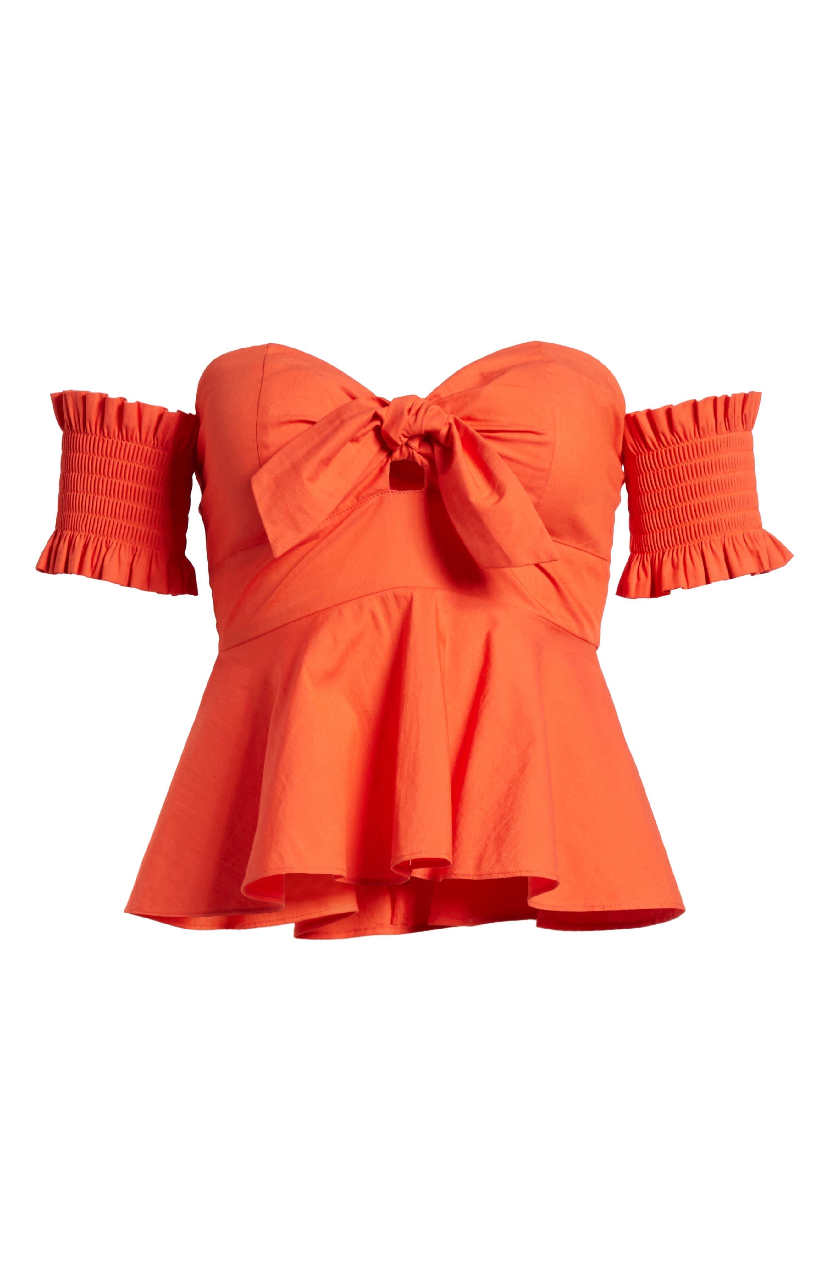 Smocked Off the Shoulder Top,                             Alternate thumbnail 7, color,                             Burnt Orange
