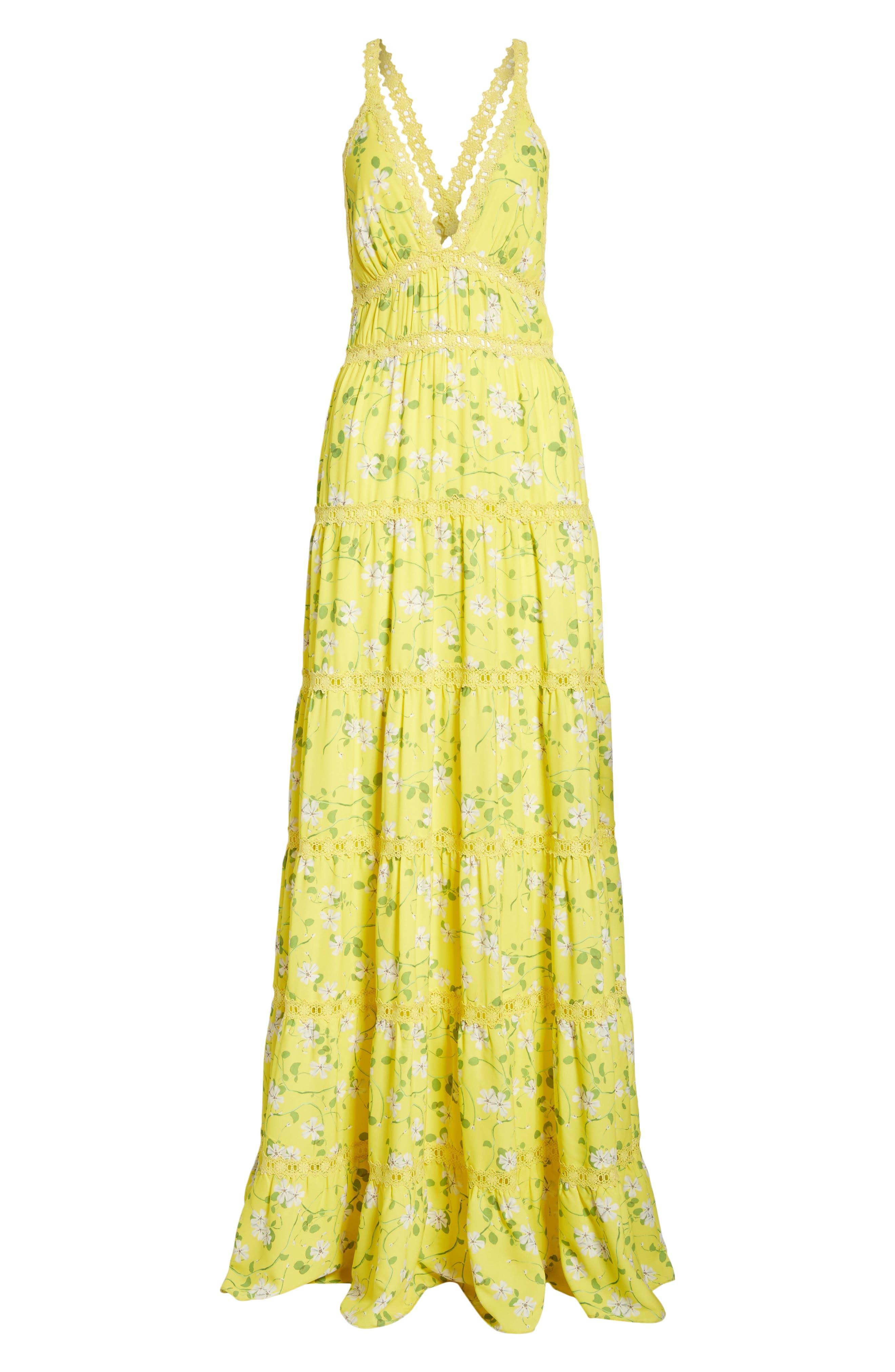 Karolina Print Maxi Dress,                             Alternate thumbnail 6, color,                             Spring Primrose-Lemon