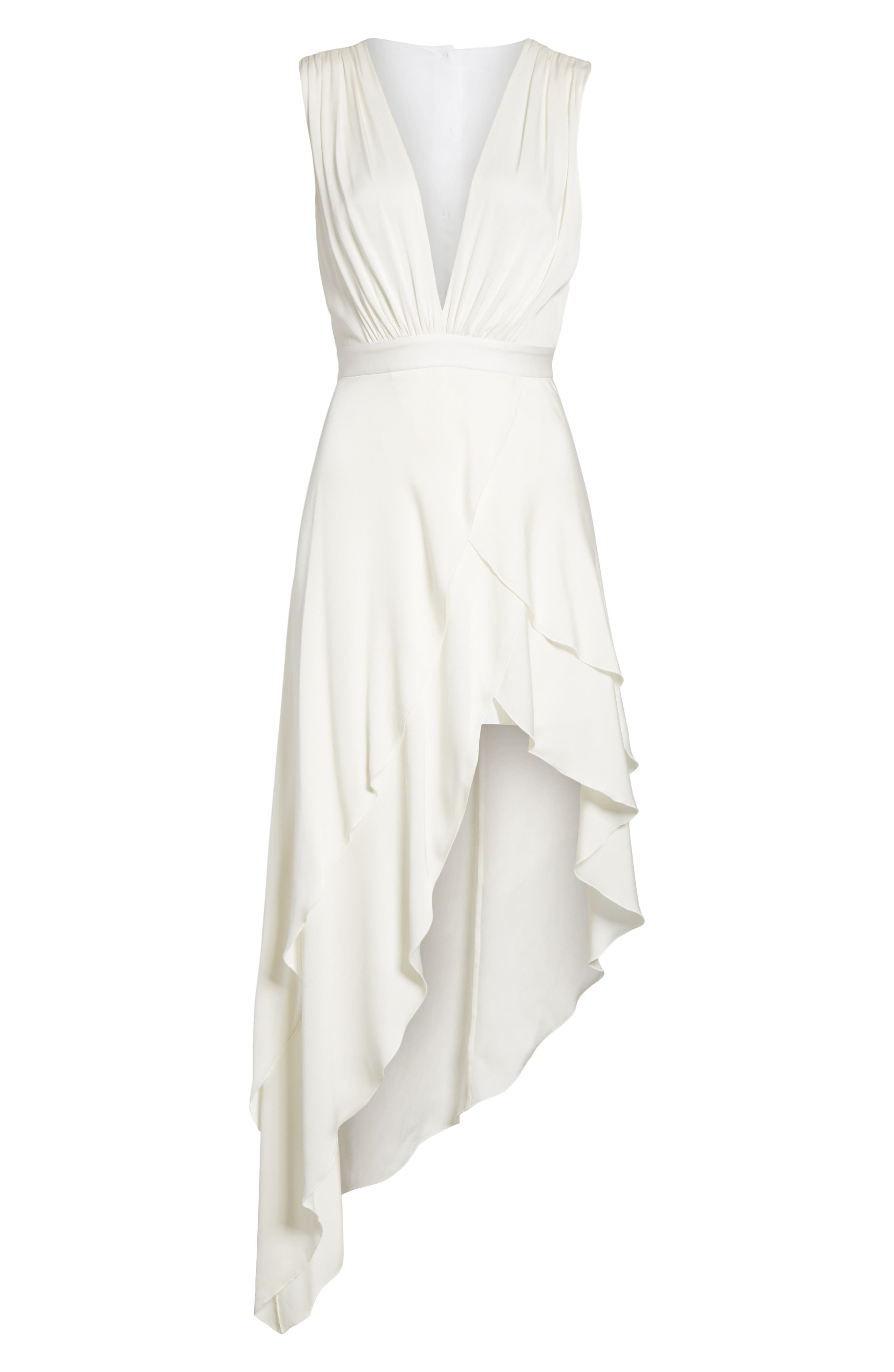 Chantay Asymmetrical Plunging Maxi Dress,                             Alternate thumbnail 6, color,                             Off White