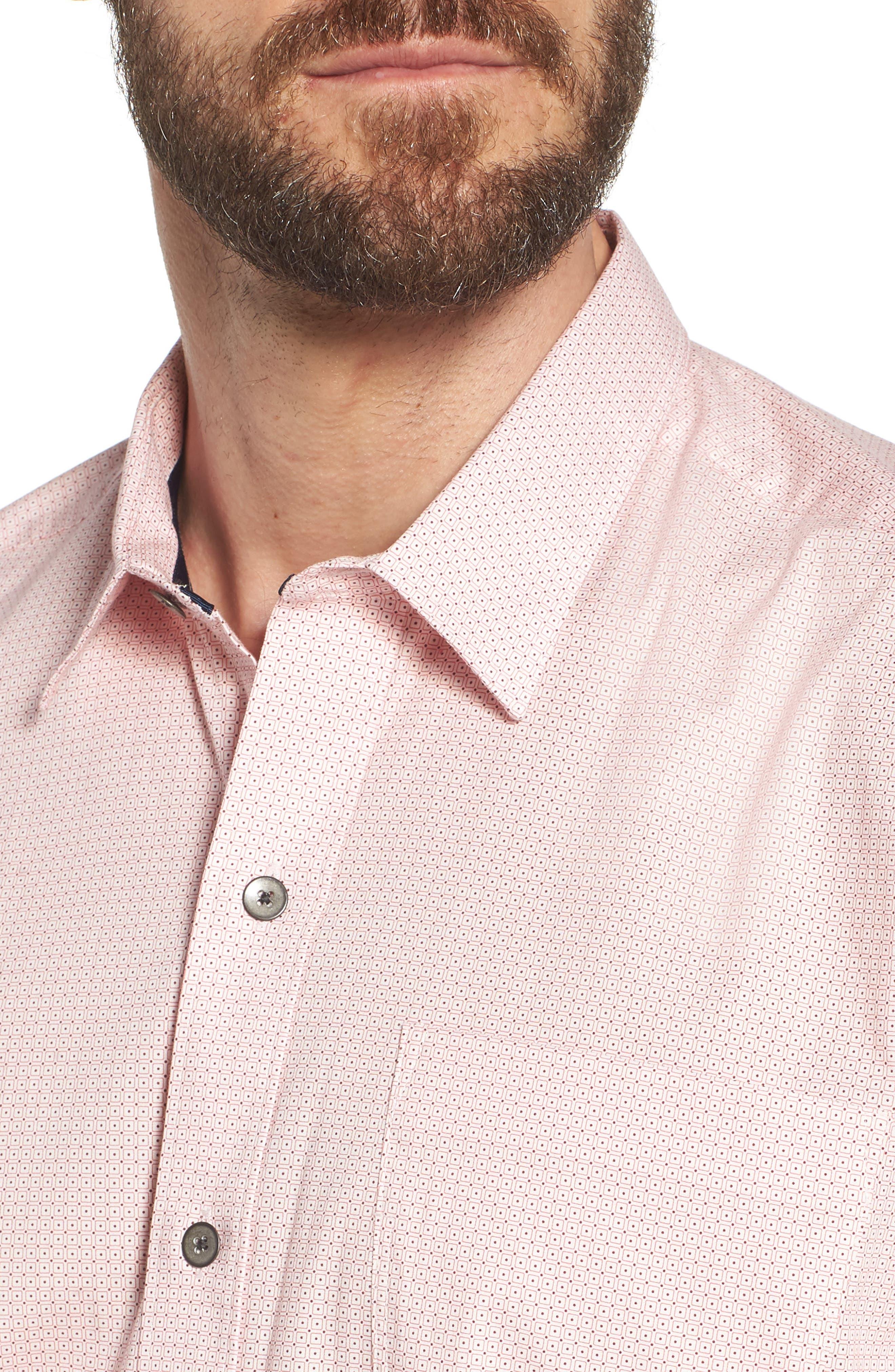 Square Slim Fit Dot Sport Shirt,                             Alternate thumbnail 4, color,                             Pink