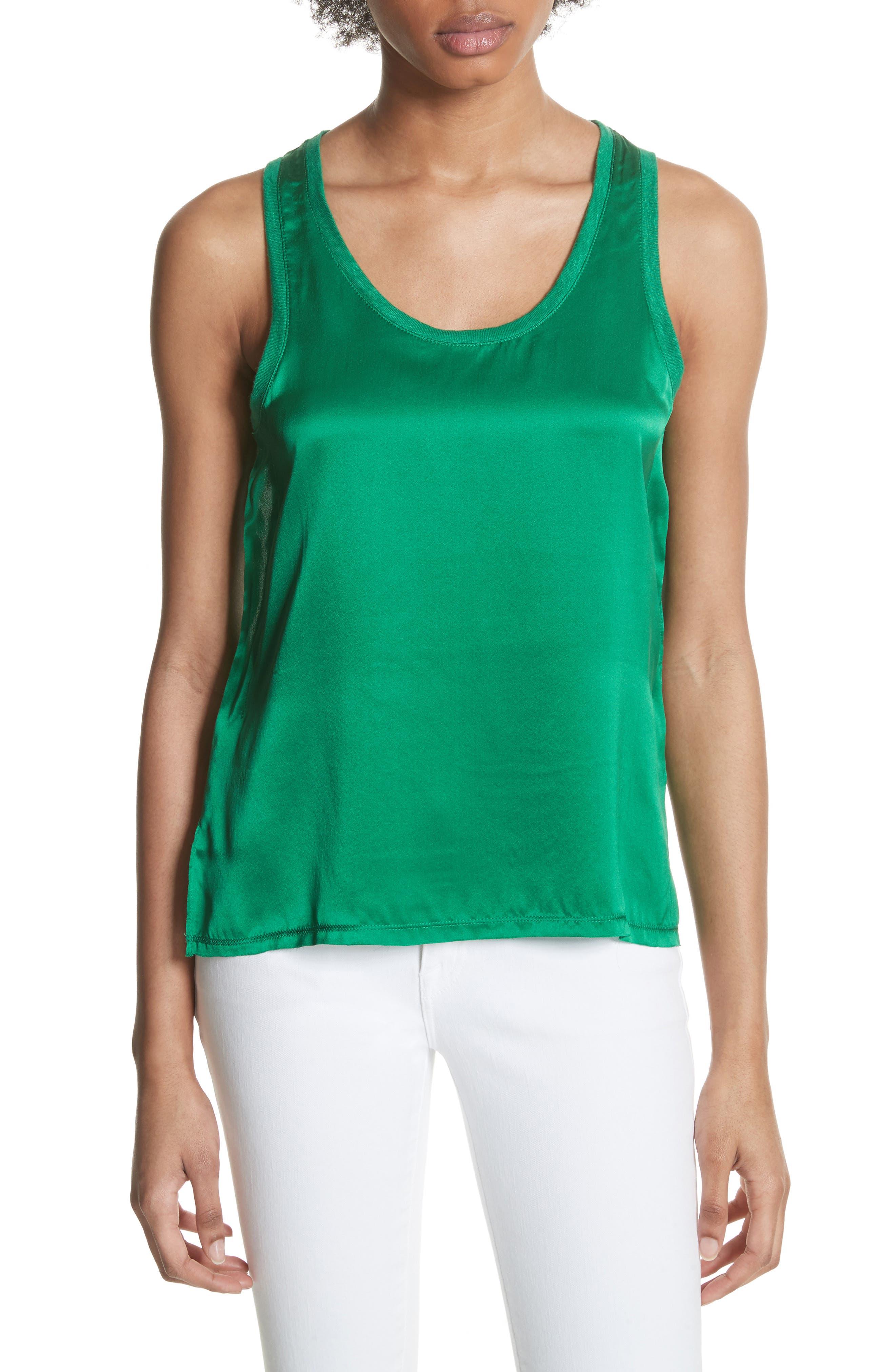 Silk & Linen Tank,                         Main,                         color, Green