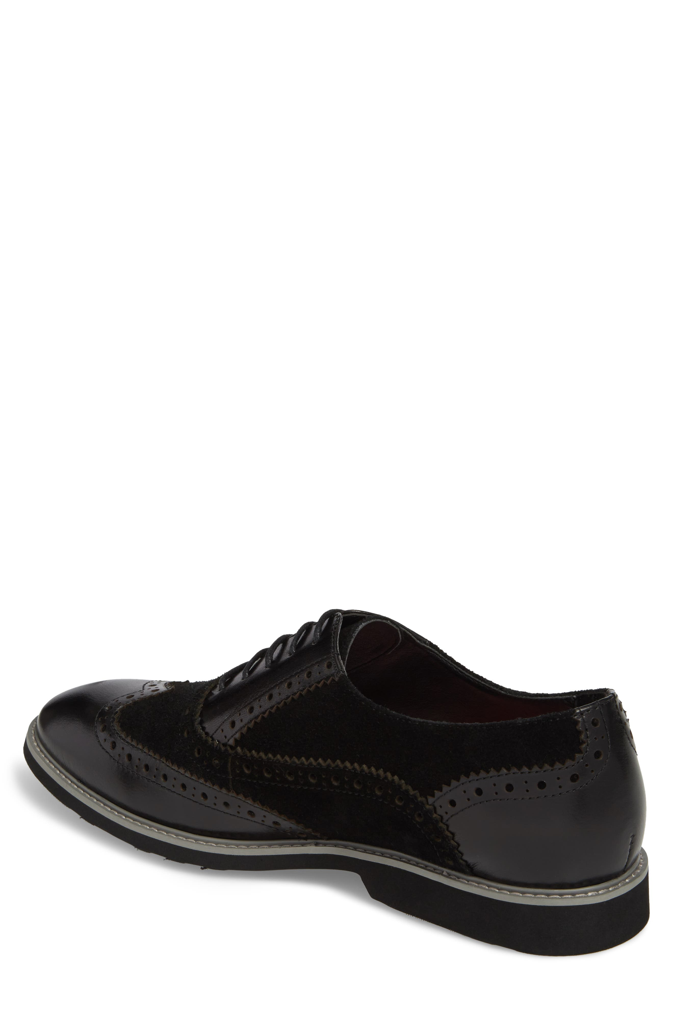 Chorley Wingtip Oxford,                             Alternate thumbnail 2, color,                             Black Leather/ Suede
