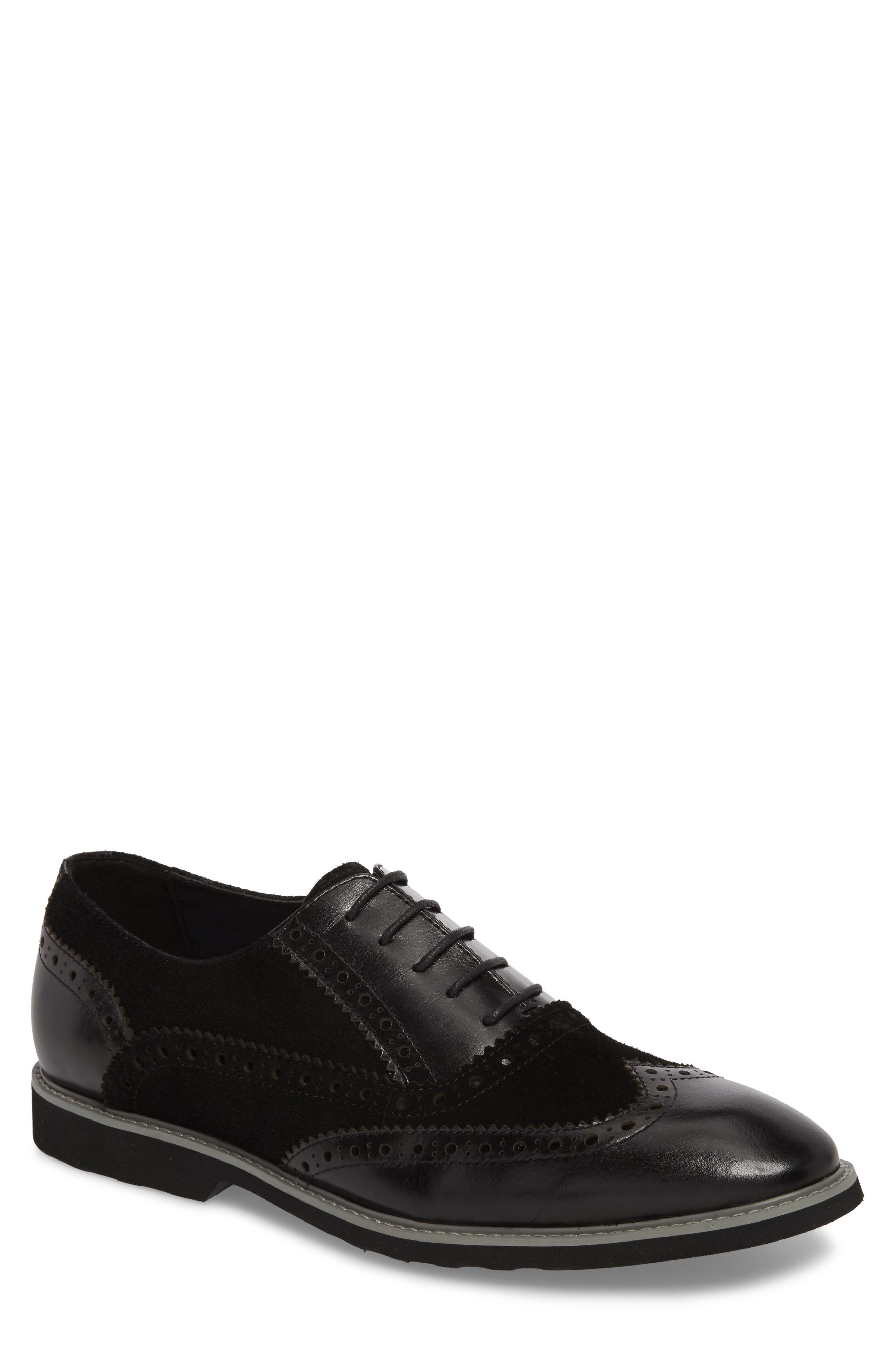 Chorley Wingtip Oxford,                             Main thumbnail 1, color,                             Black Leather/ Suede
