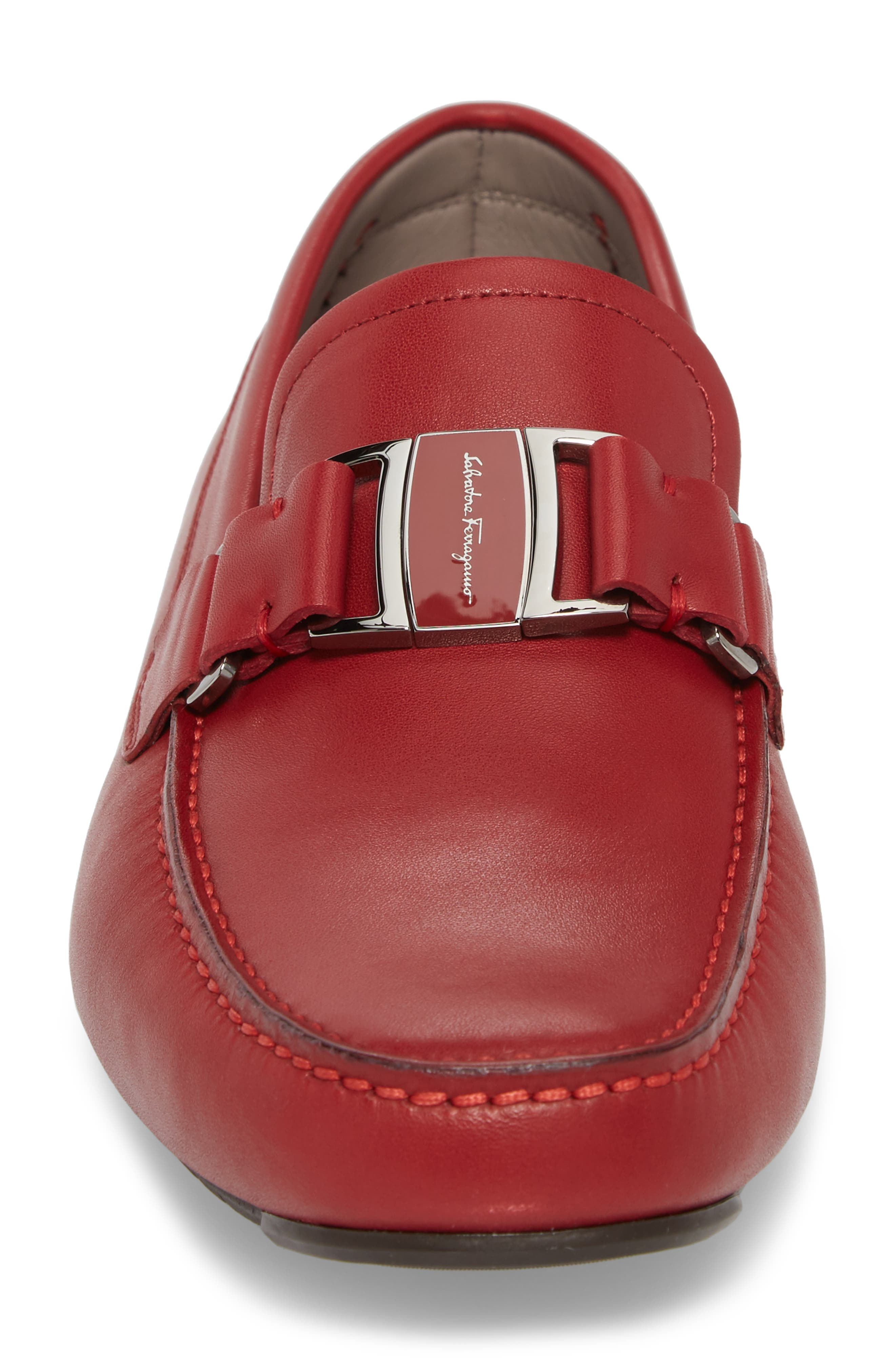 Sardegna Driving Shoe,                             Alternate thumbnail 4, color,                             Red Leather