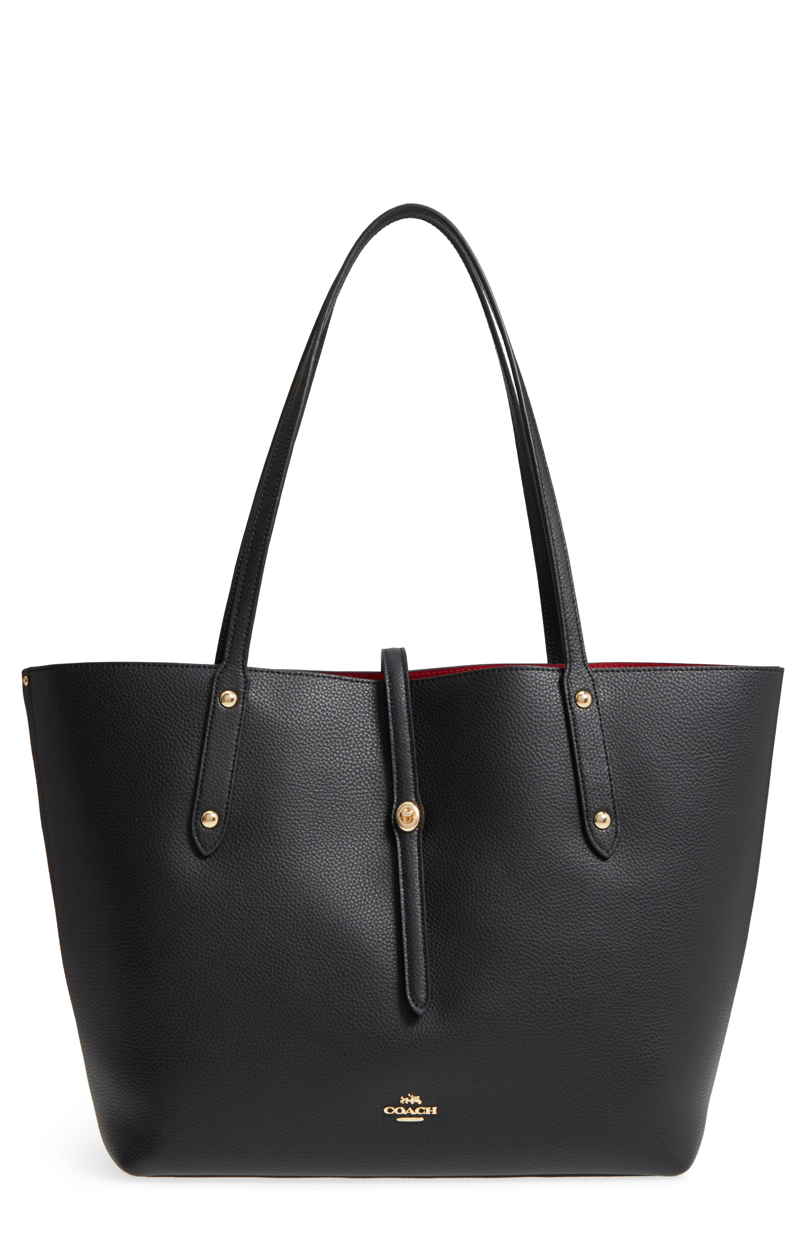 Market Pebbled Leather Tote,                         Main,                         color, Black / True Red