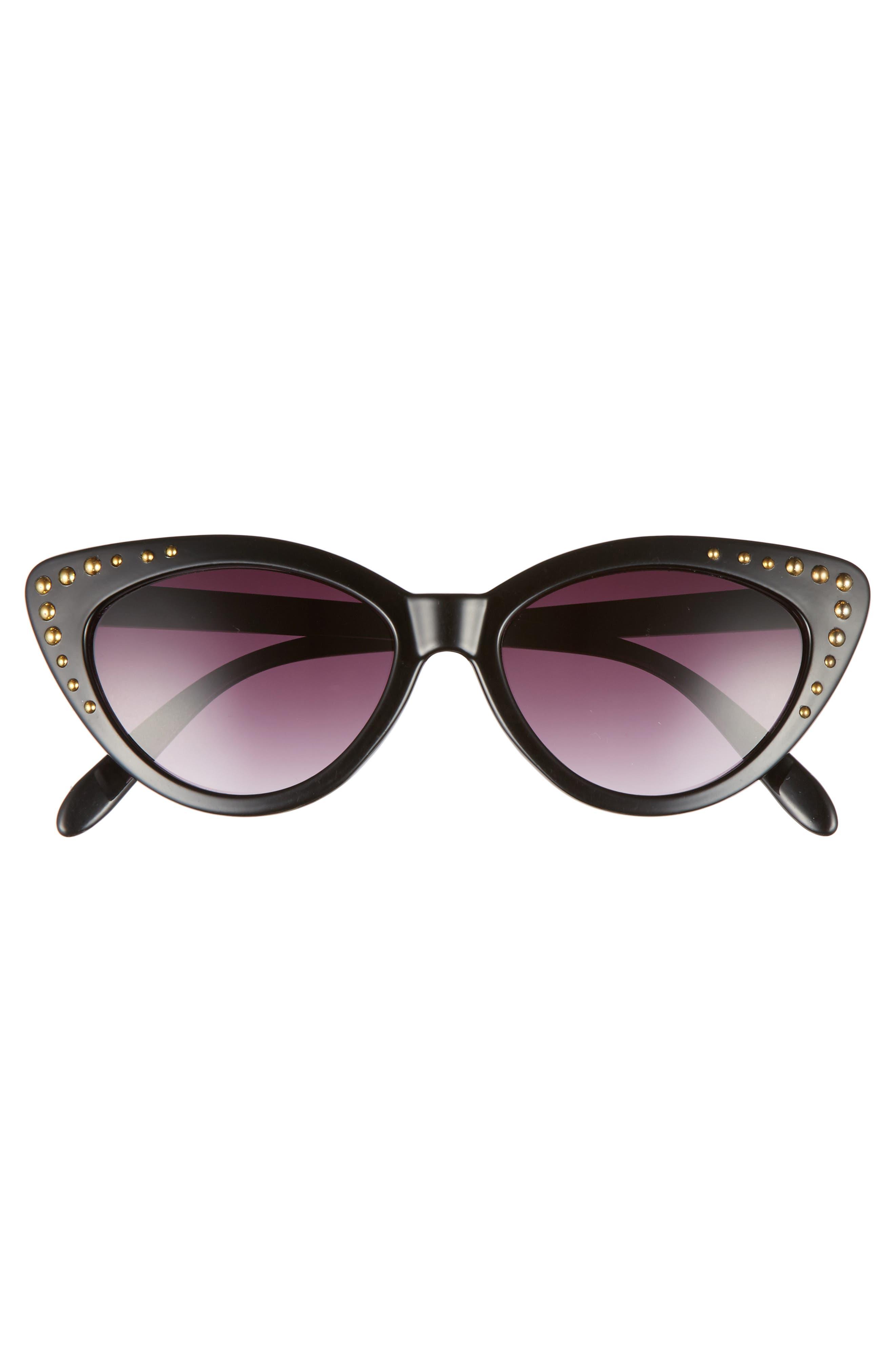52mm Stud Detail Cat Eye Sunglasses,                             Alternate thumbnail 3, color,                             Black/ Gold