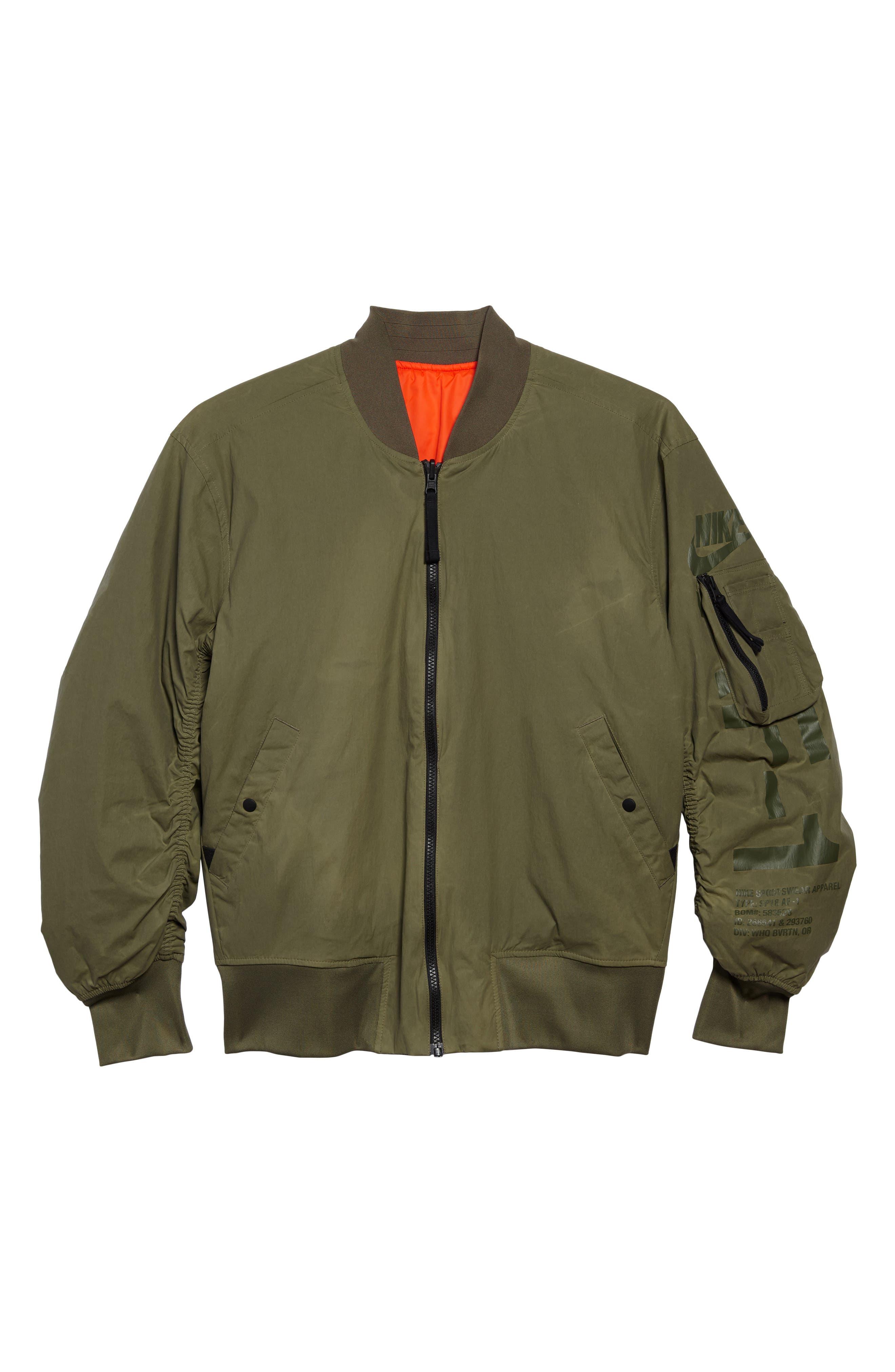 NSW Air Force 1 Jacket,                             Alternate thumbnail 7, color,                             Medium Olive/ Orange/ Olive