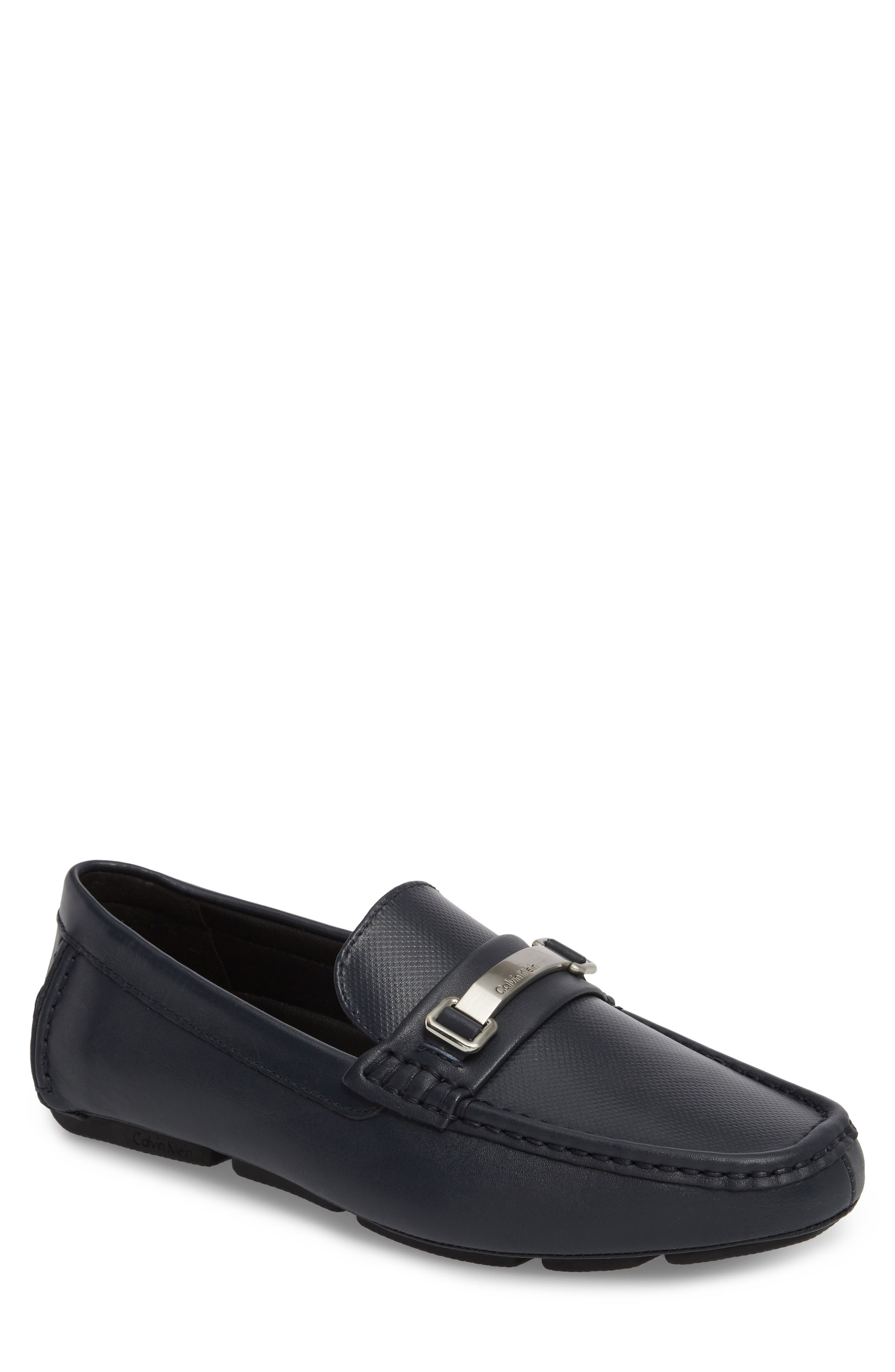 Maddix Textured Driving Moccasin,                         Main,                         color, Dark Navy Leather