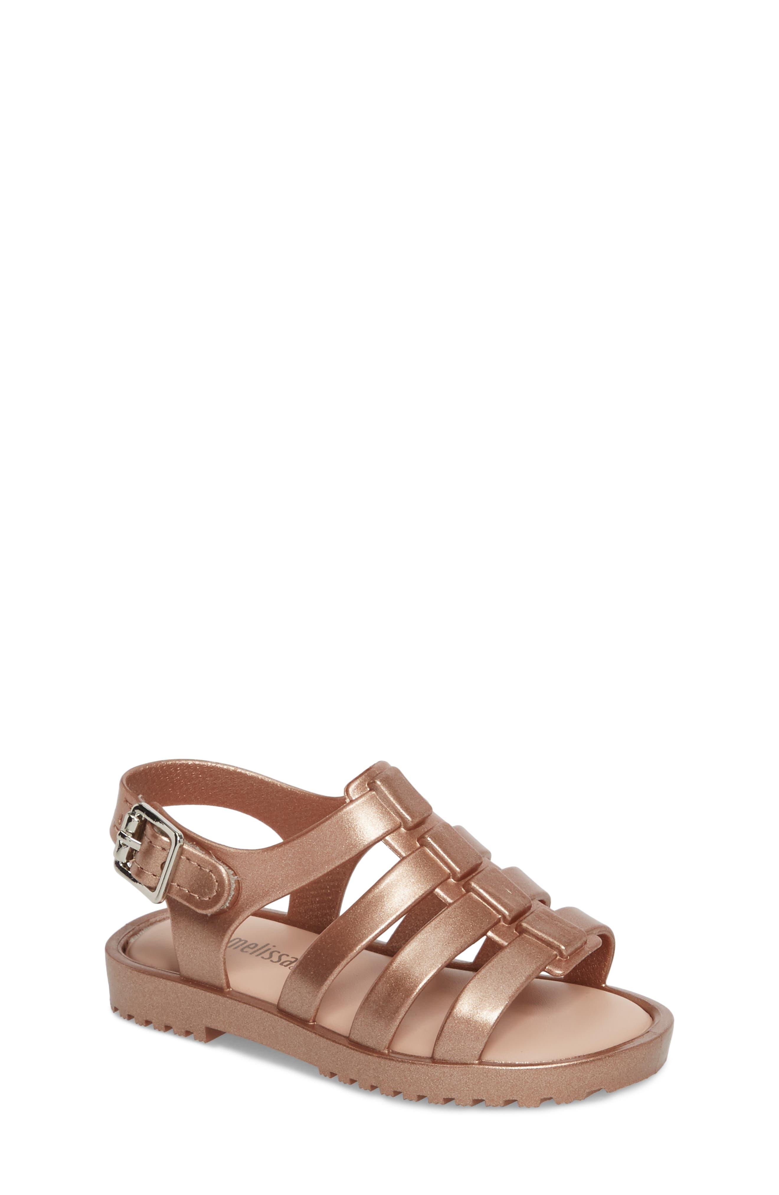 Mini Flox Shine Sandal,                             Main thumbnail 1, color,                             Rose Gold