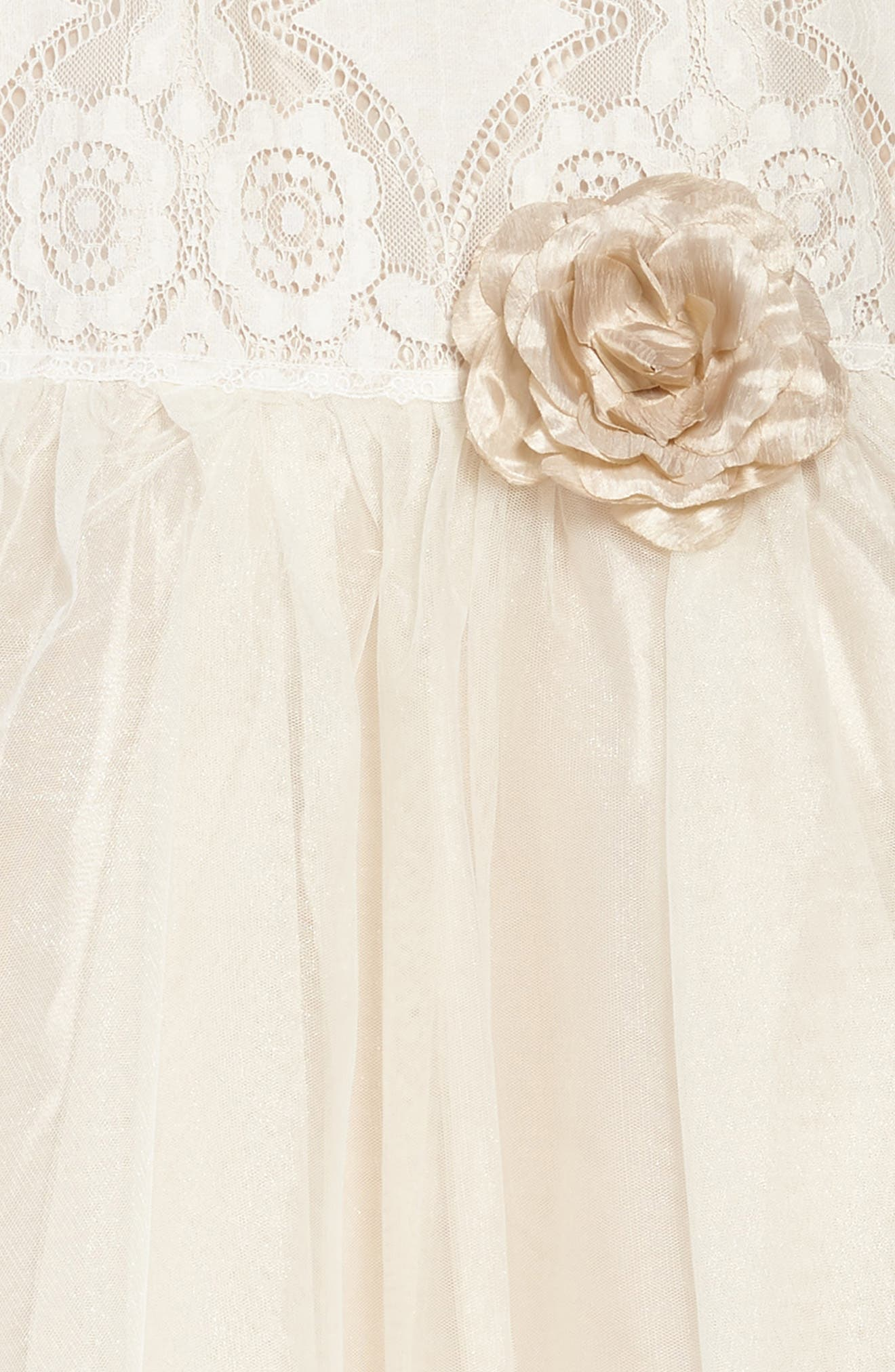 Lace & Tulle Party Dress,                             Alternate thumbnail 3, color,                             Ivory/ Tan
