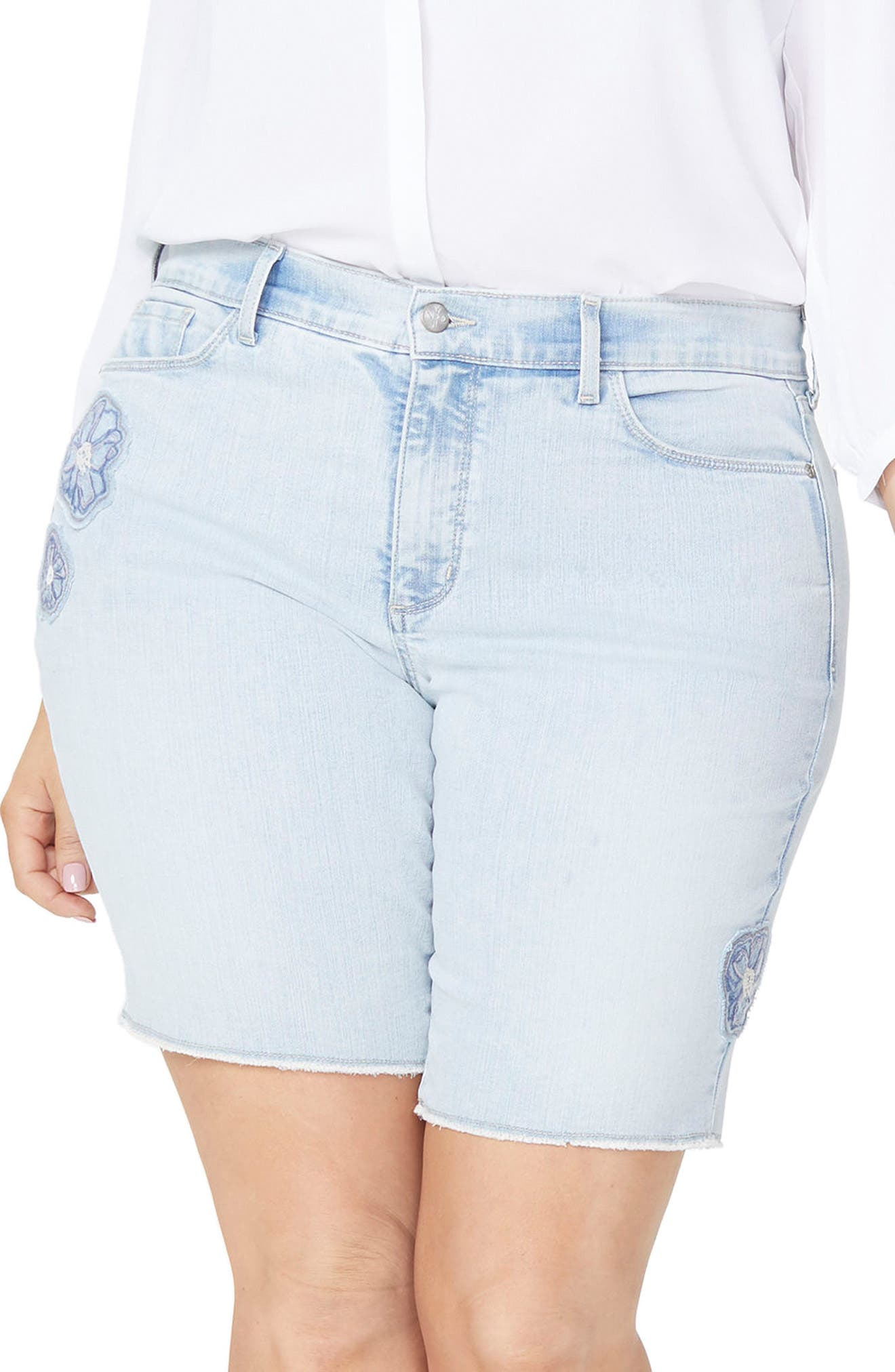 Briella Dream Blossom Denim Bermuda Shorts,                         Main,                         color, Palm Desert