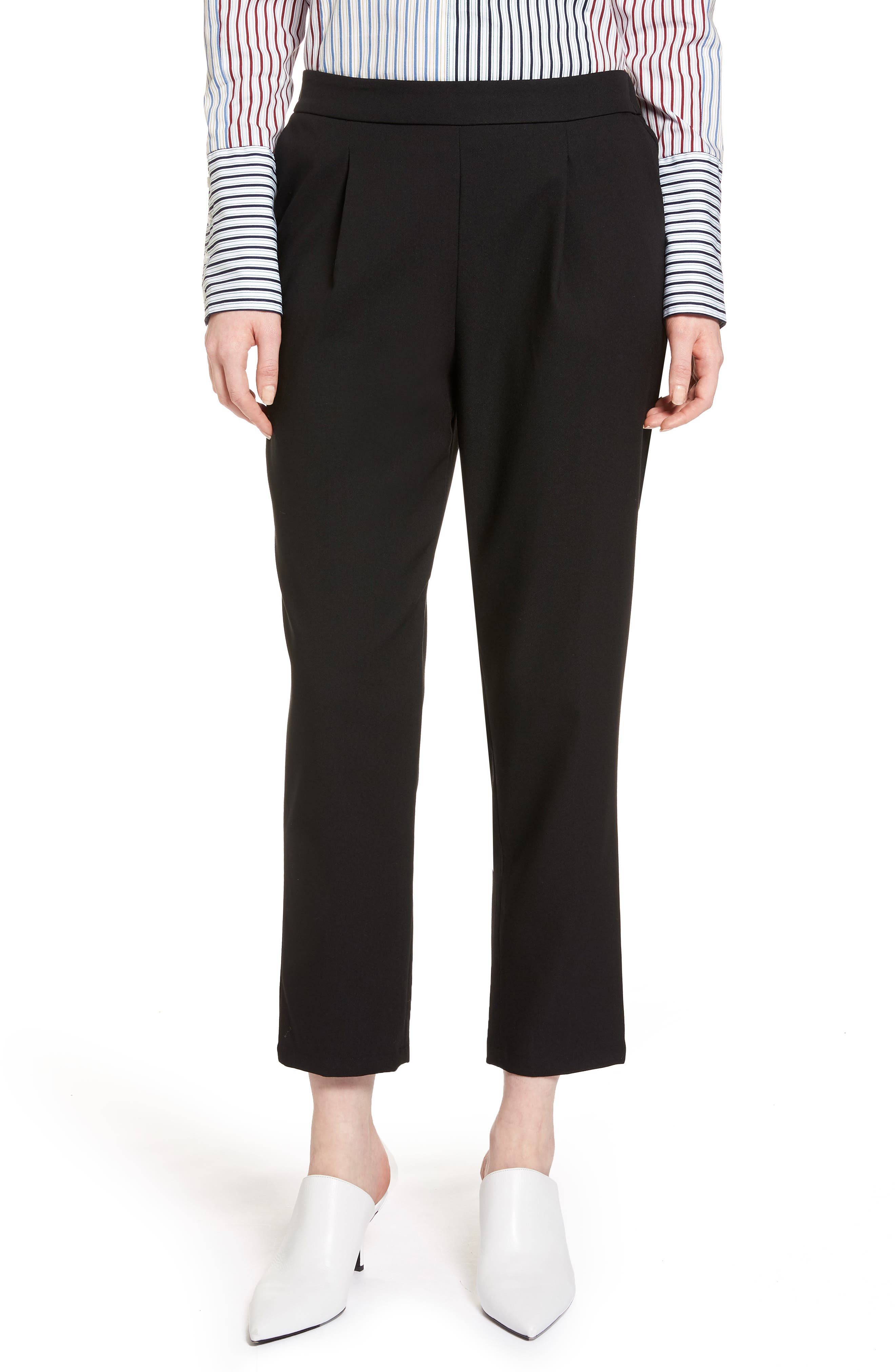 Twill Ankle Pants,                         Main,                         color, Black