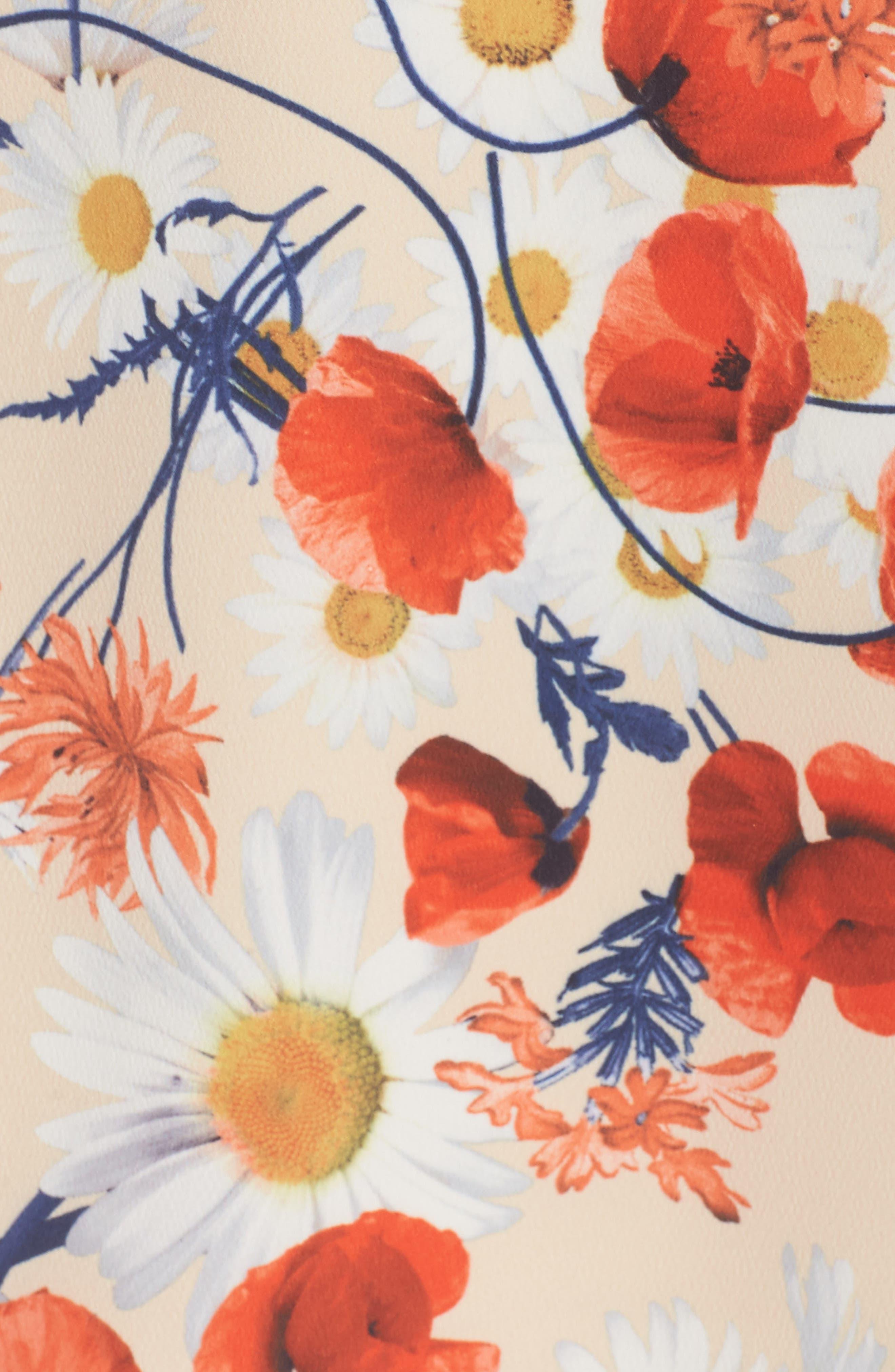 Cara Floral Layered Dress,                             Alternate thumbnail 5, color,                             Coral Floral