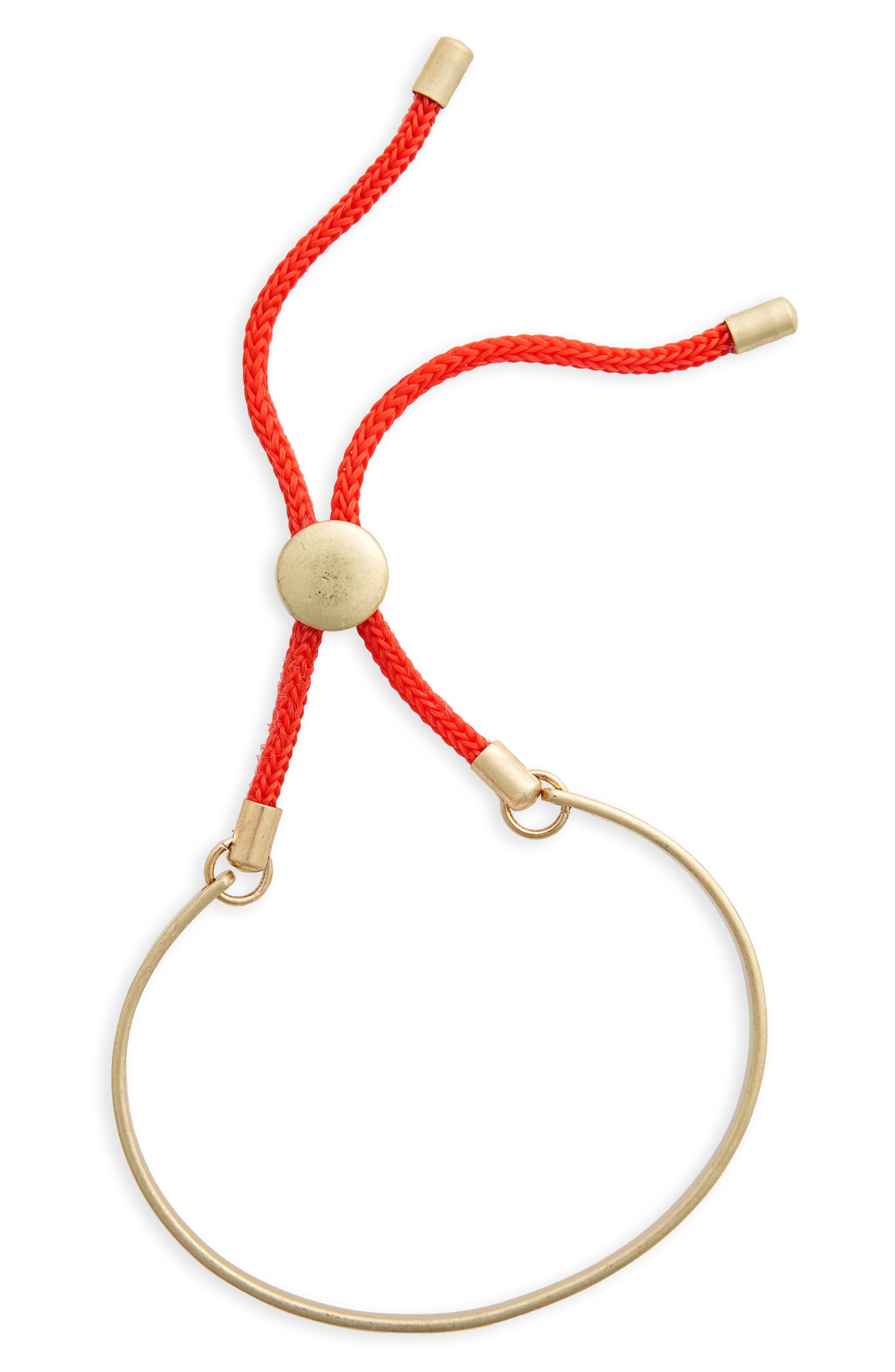 Color Cord Goldtone Bolo Bracelet,                             Main thumbnail 1, color,                             Red