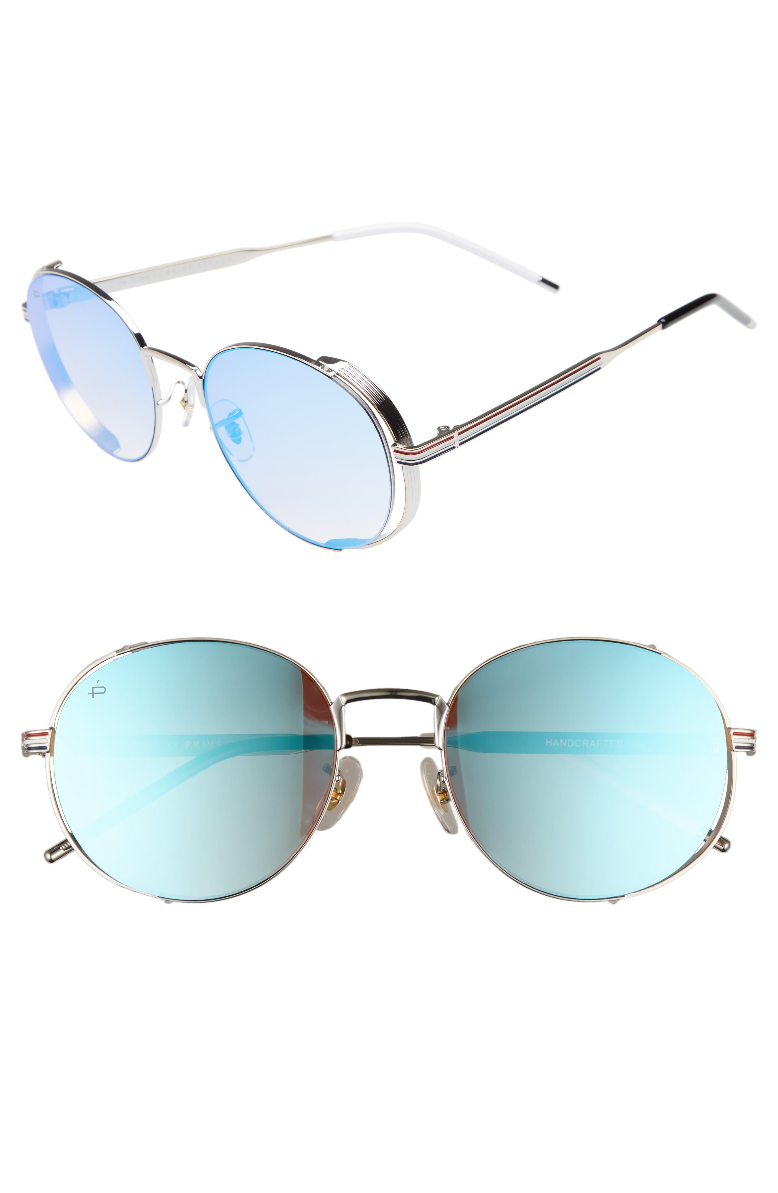 Privé Revaux The Riviera Round Sunglasses,                         Main,                         color, Blue
