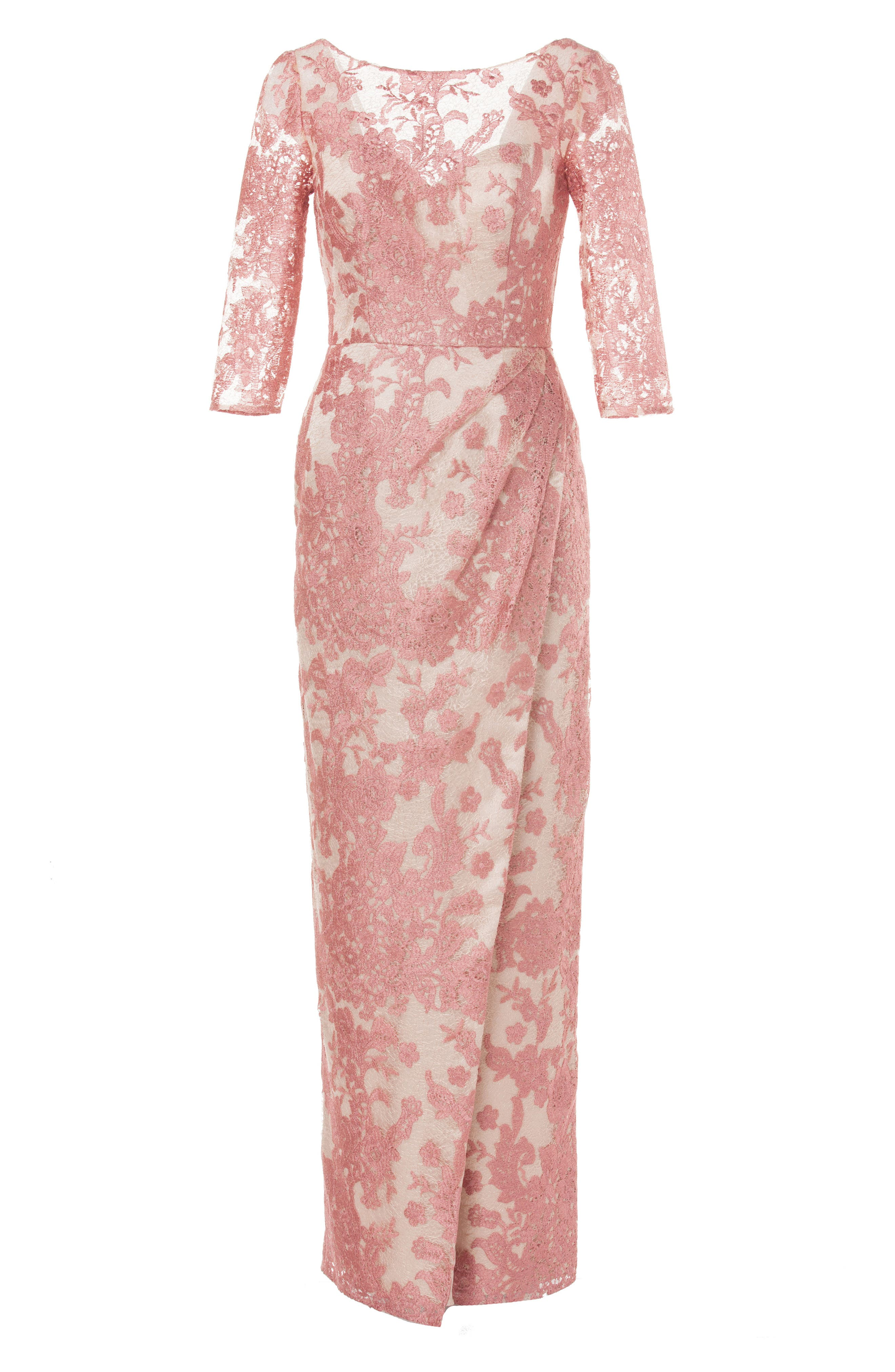 Embroidered Lace Gown,                             Alternate thumbnail 4, color,                             Pink