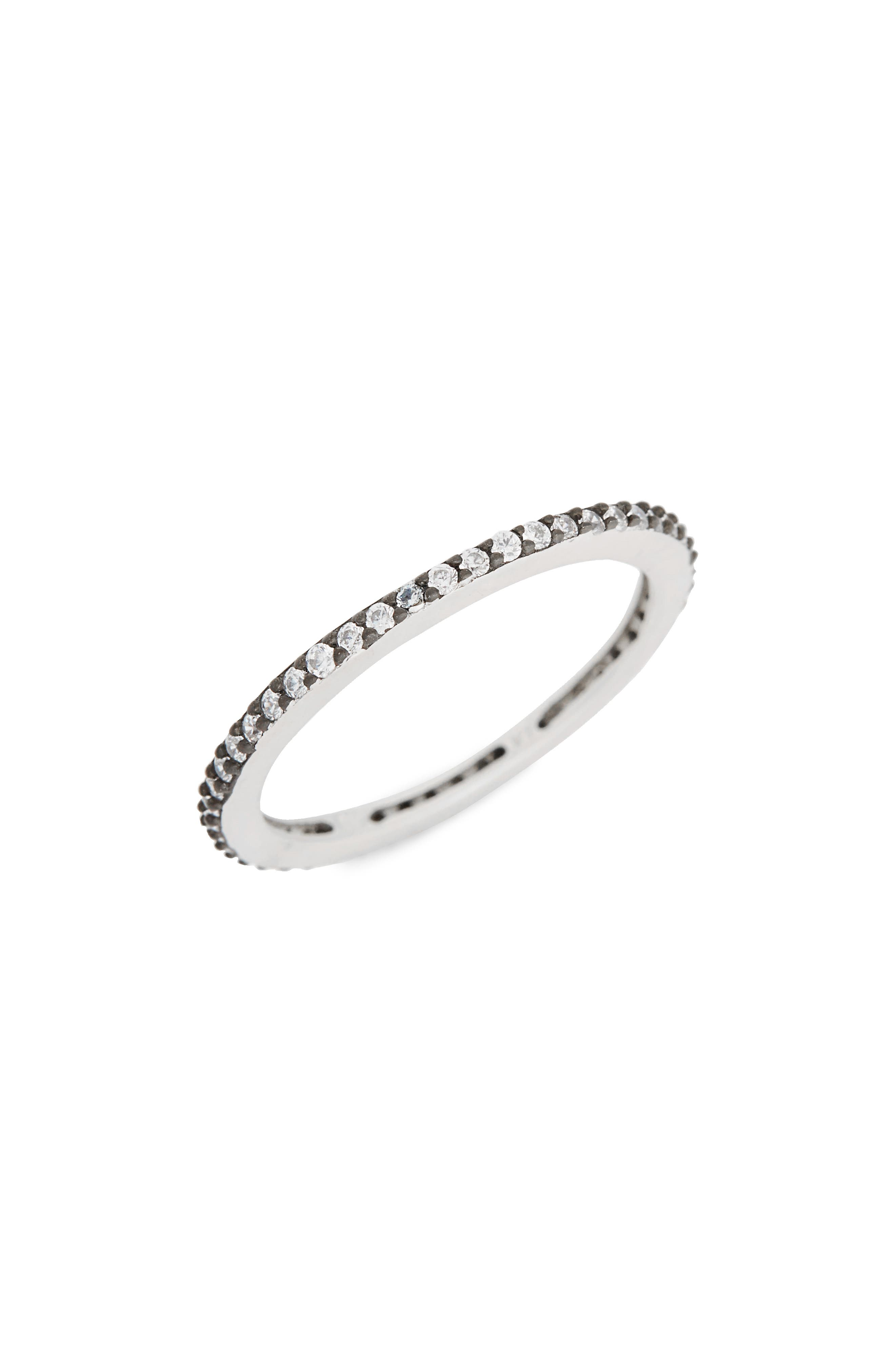 Single Stack Ring,                             Main thumbnail 1, color,                             Black/ Silver