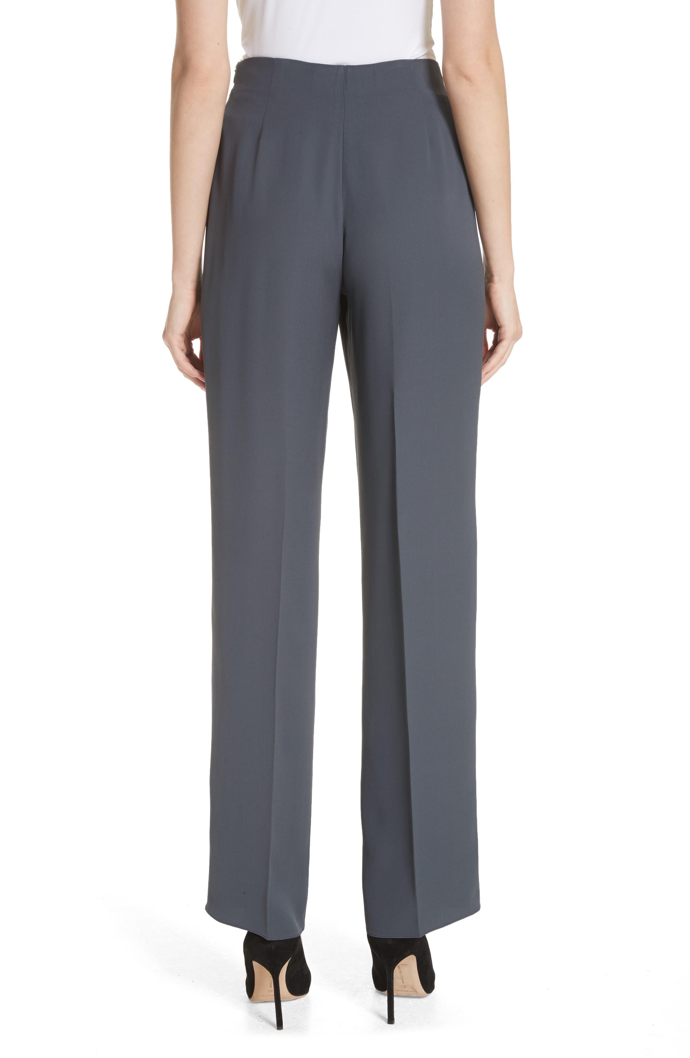 Tie Front Silk Pants,                             Alternate thumbnail 2, color,                             Abisso