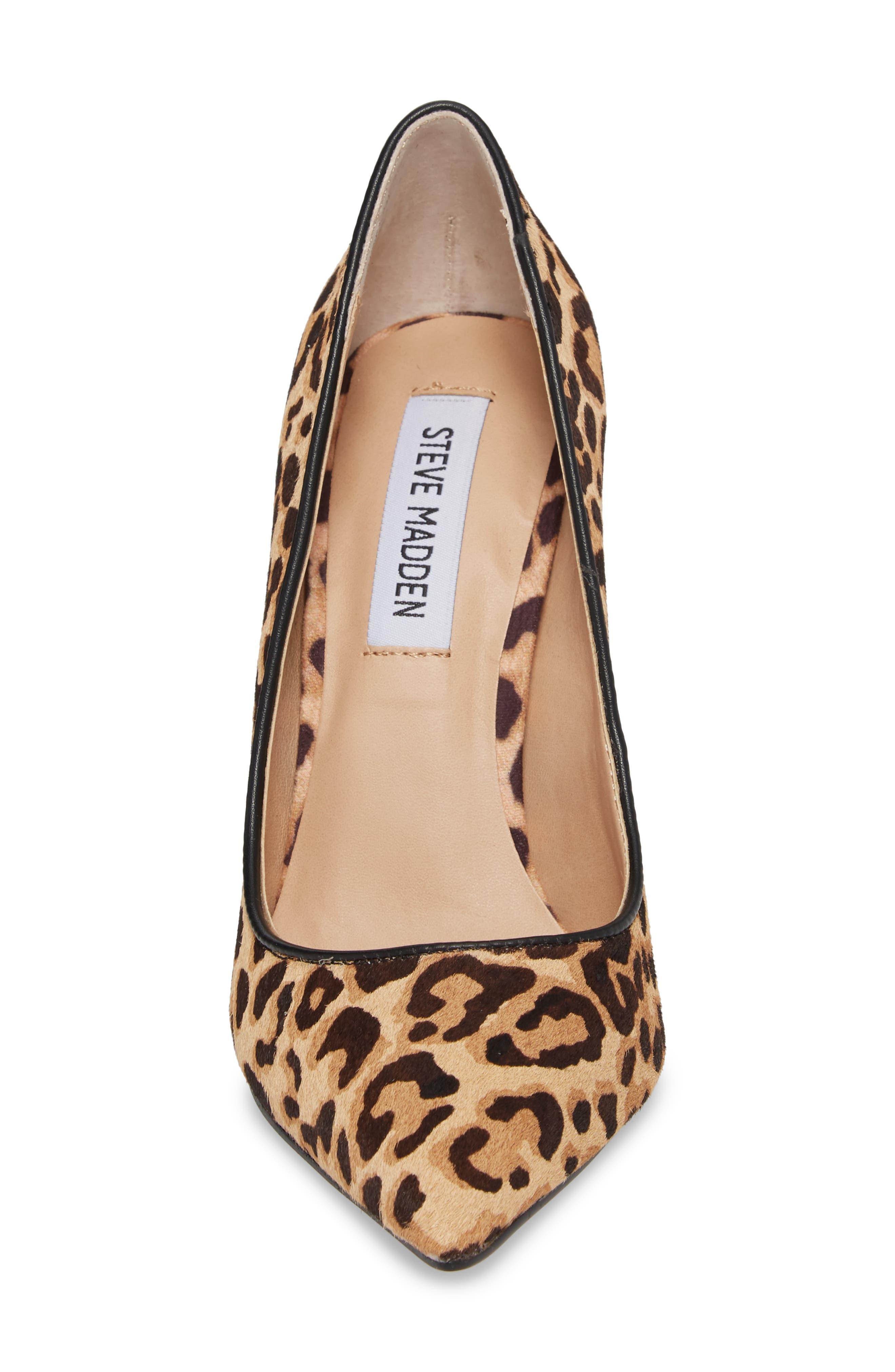 Daisie Genuine Calf Hair Pointy-Toe Pump,                             Alternate thumbnail 4, color,                             Leopard