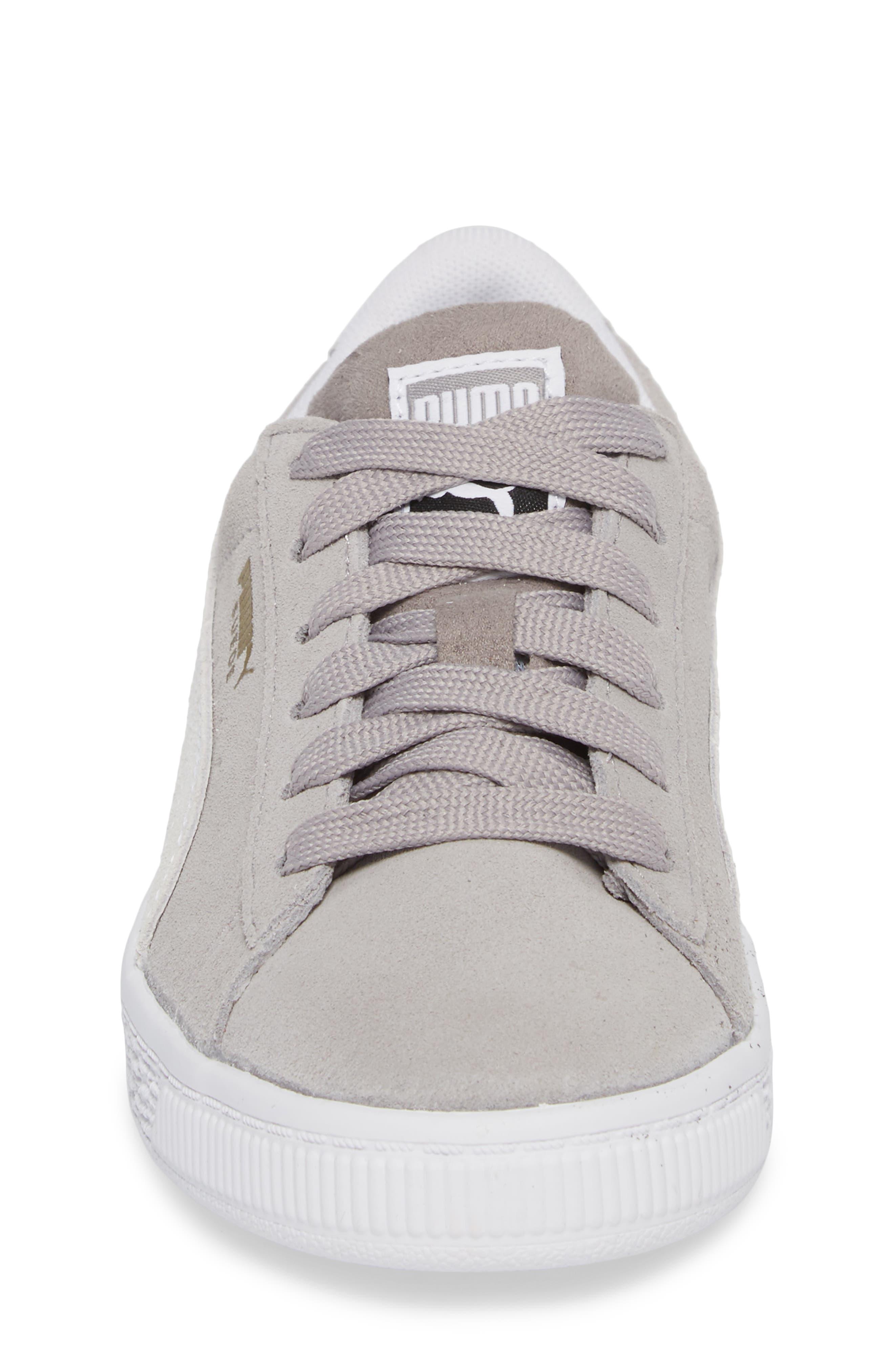 Suede Sneaker,                             Alternate thumbnail 4, color,                             Ash/ Puma White