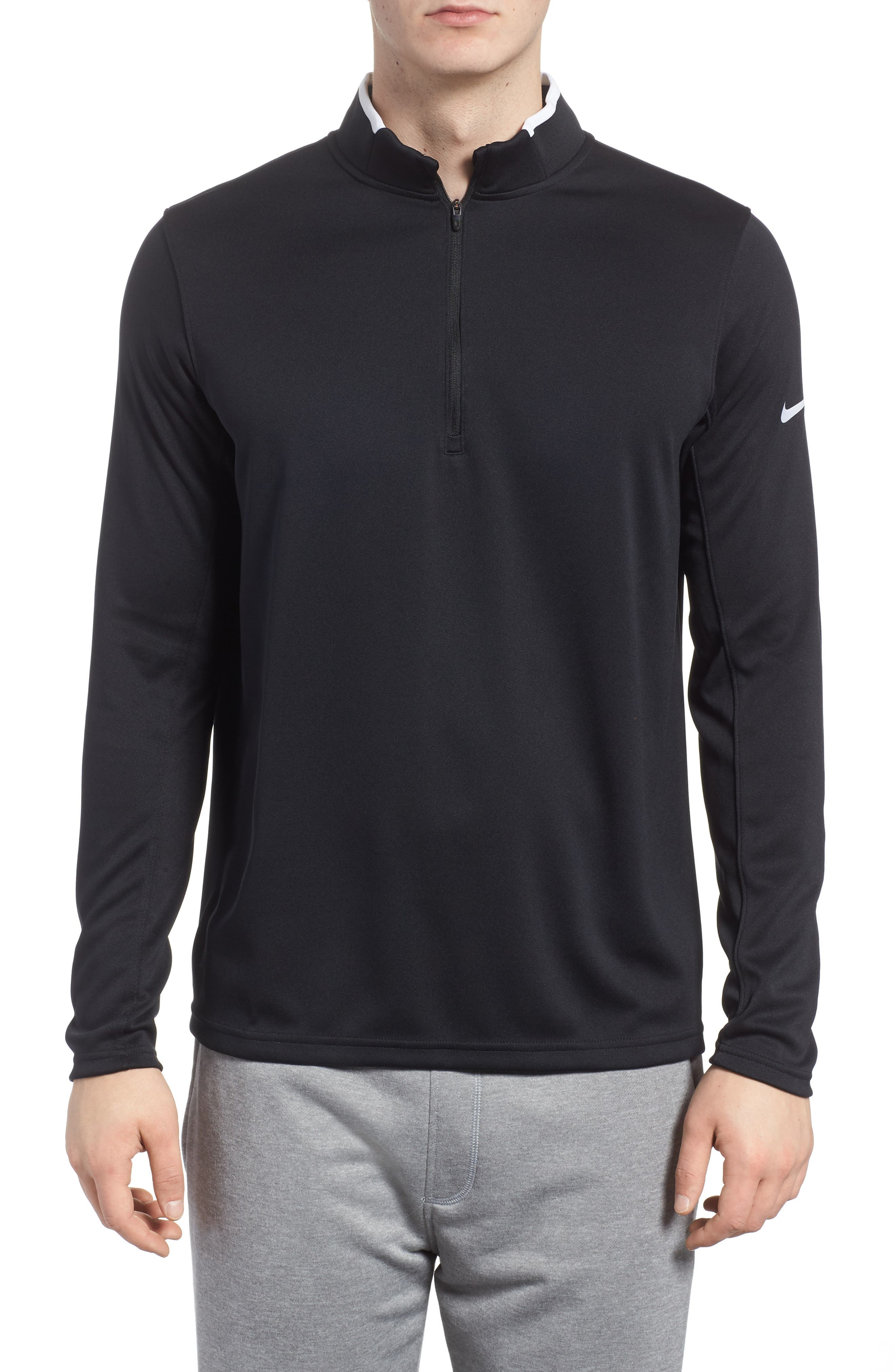 Dry Core Half Zip Pullover,                             Main thumbnail 1, color,                             Black/ White/ White