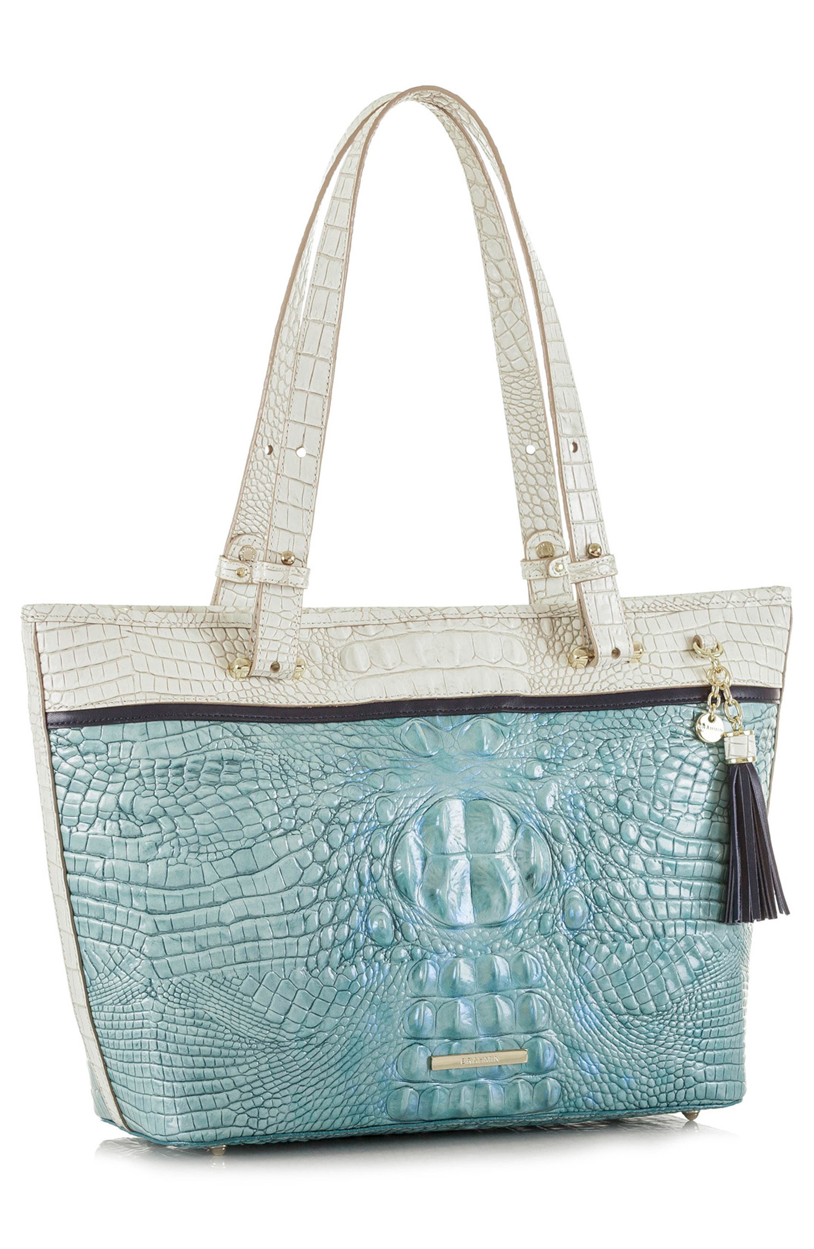 Medium Asher Embossed Leather Tote,                             Alternate thumbnail 4, color,                             Astral