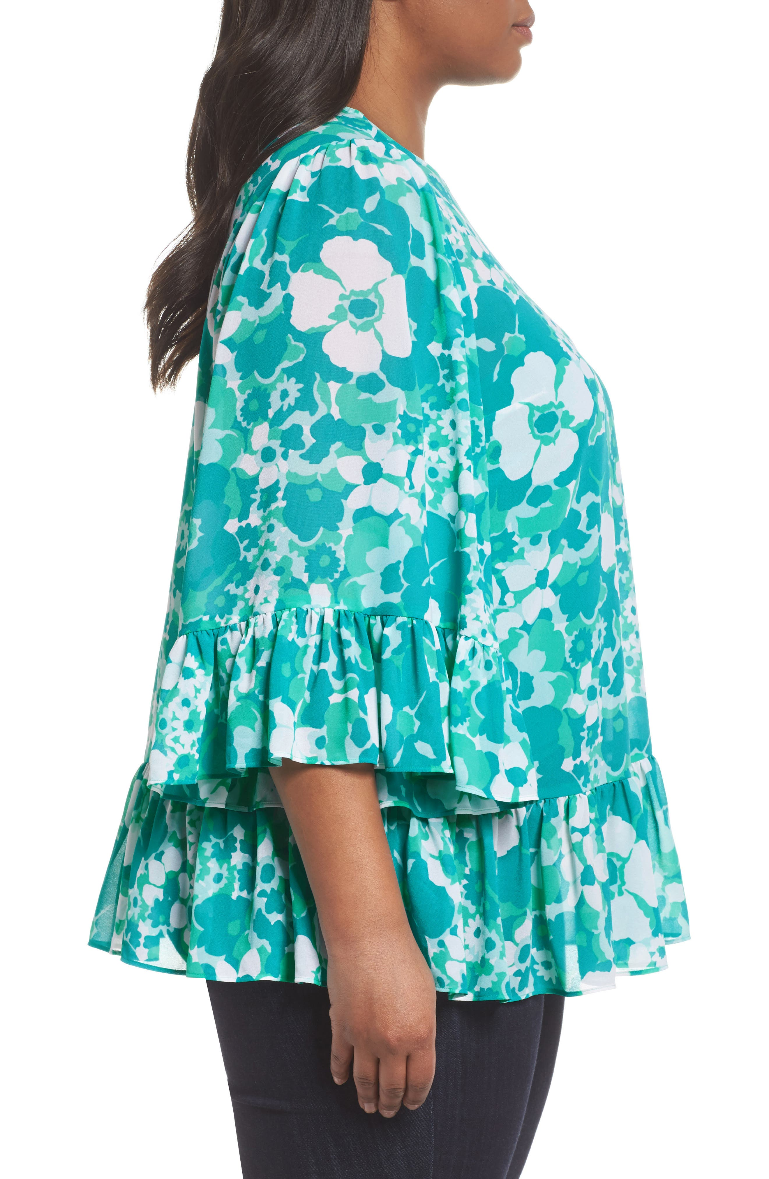 Alternate Image 3  - MICHAEL Michael Kors Springtime Floral Ruffle Top (Plus Size)