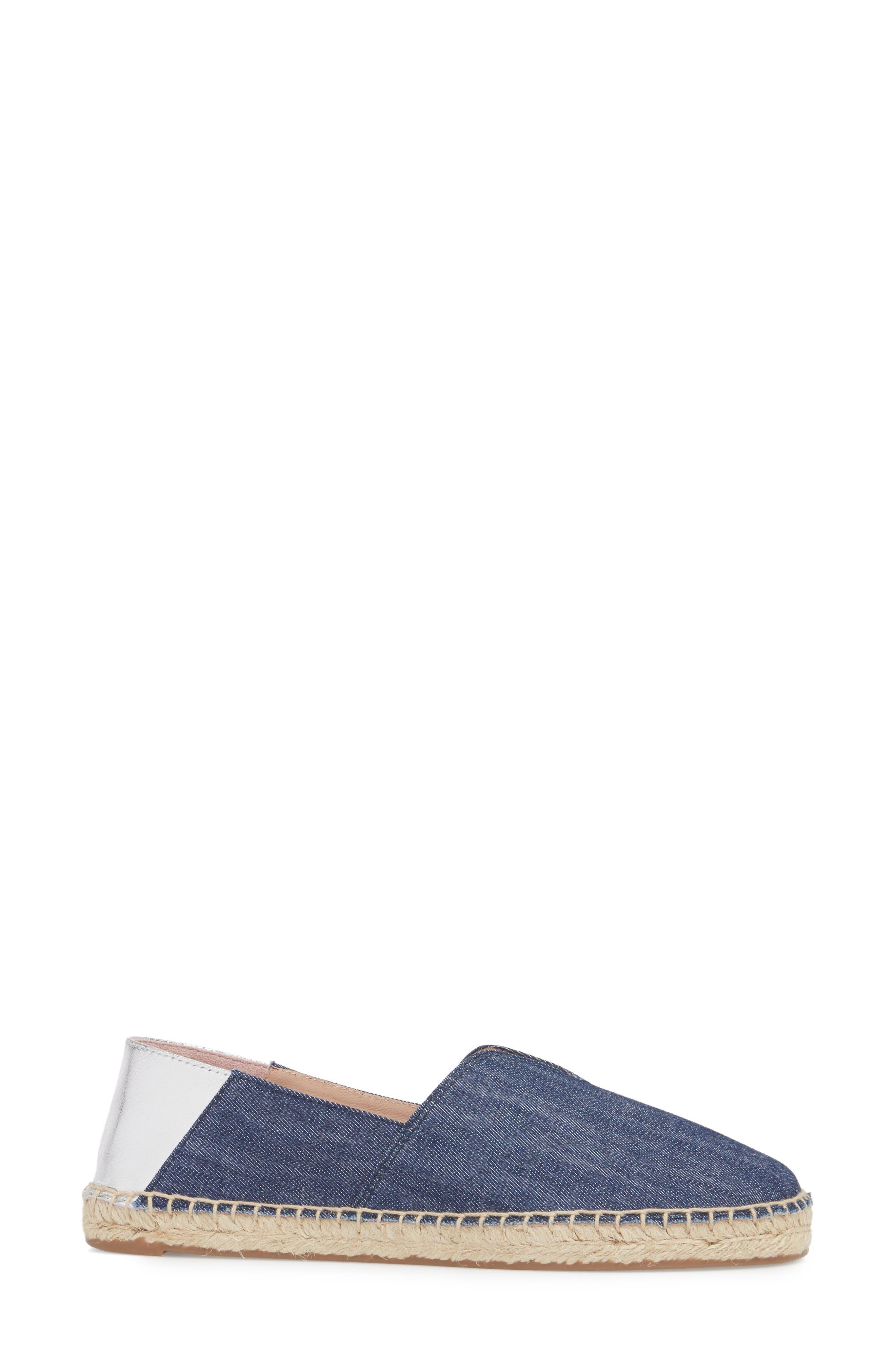 Ilene Slip-On Flat,                             Alternate thumbnail 3, color,                             Denim Fabric
