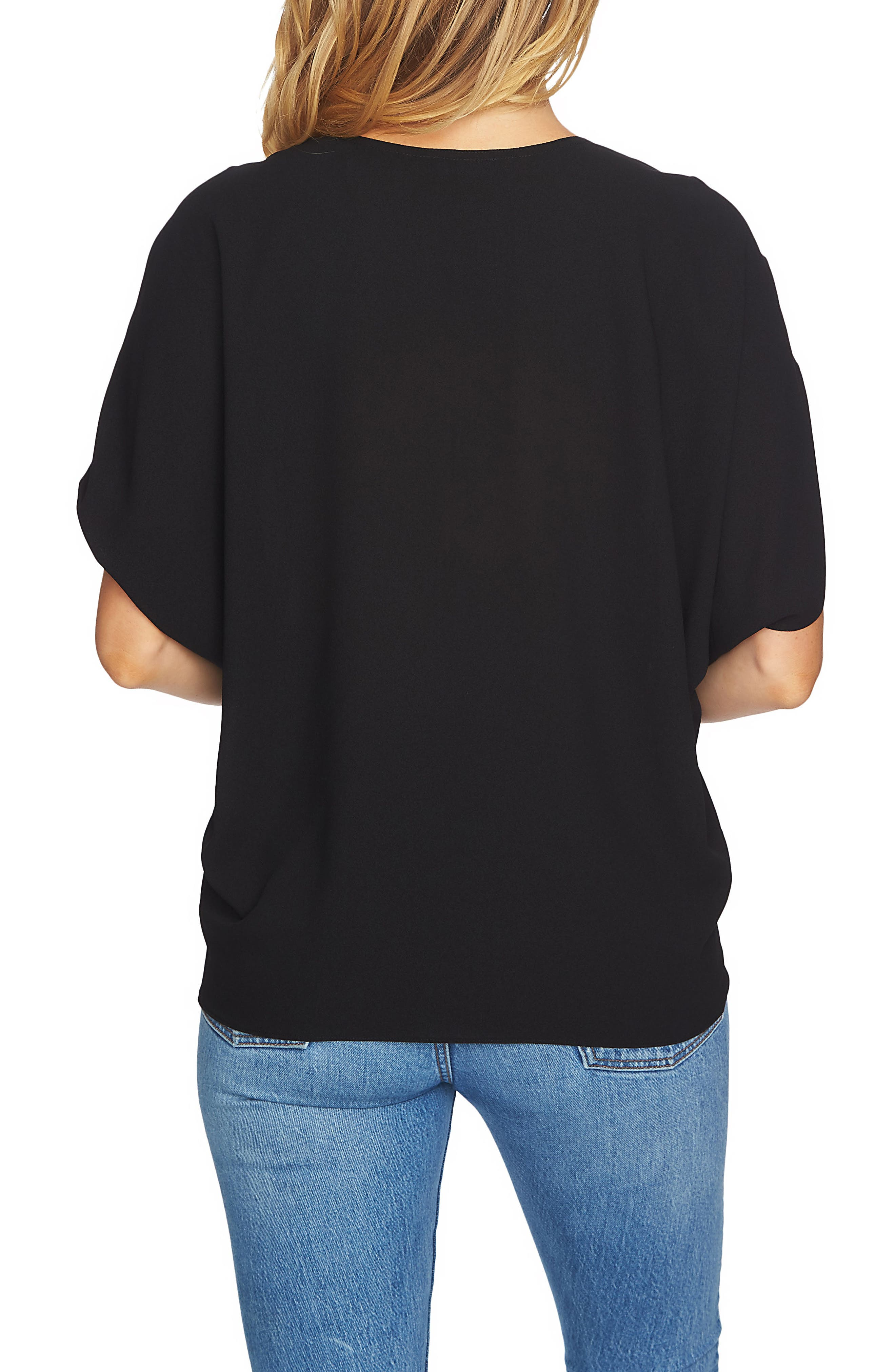 Cinch Sleeve Blouse,                             Alternate thumbnail 2, color,                             060-Rich Black