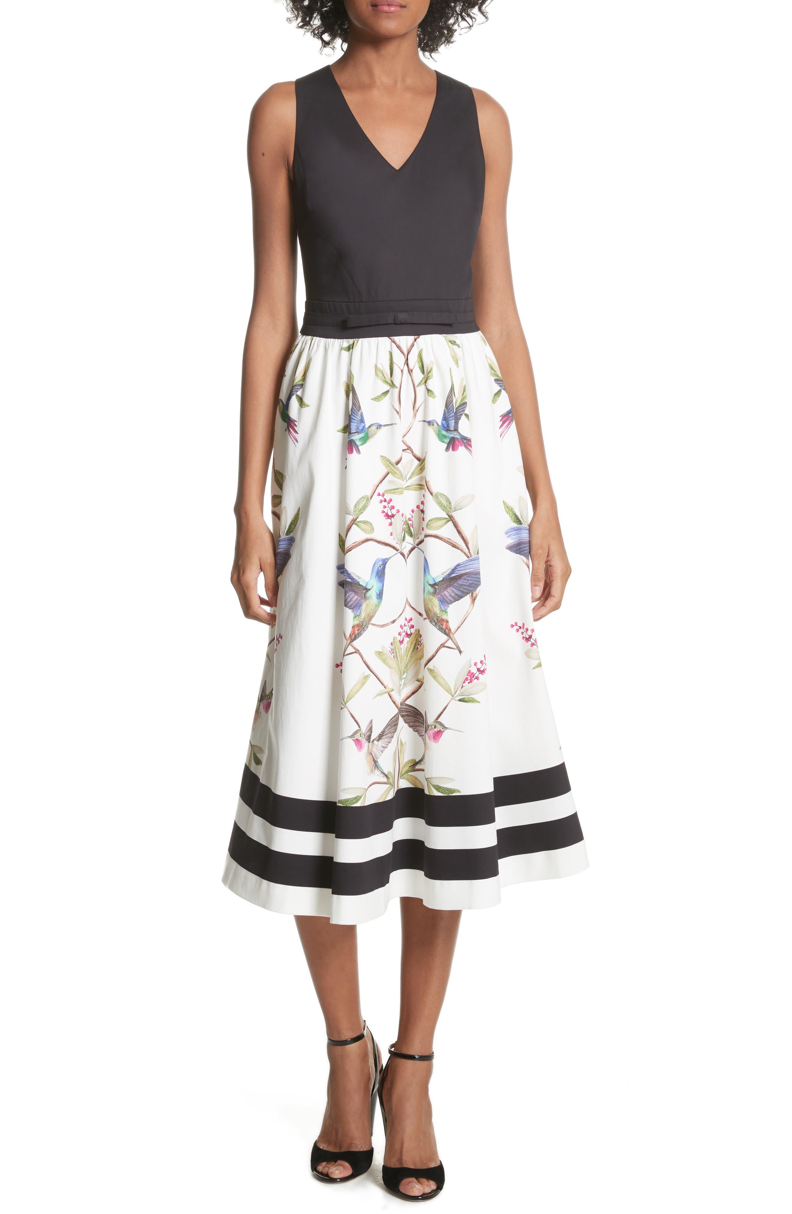 High Grove Fit & Flare Dress,                             Main thumbnail 1, color,                             Black