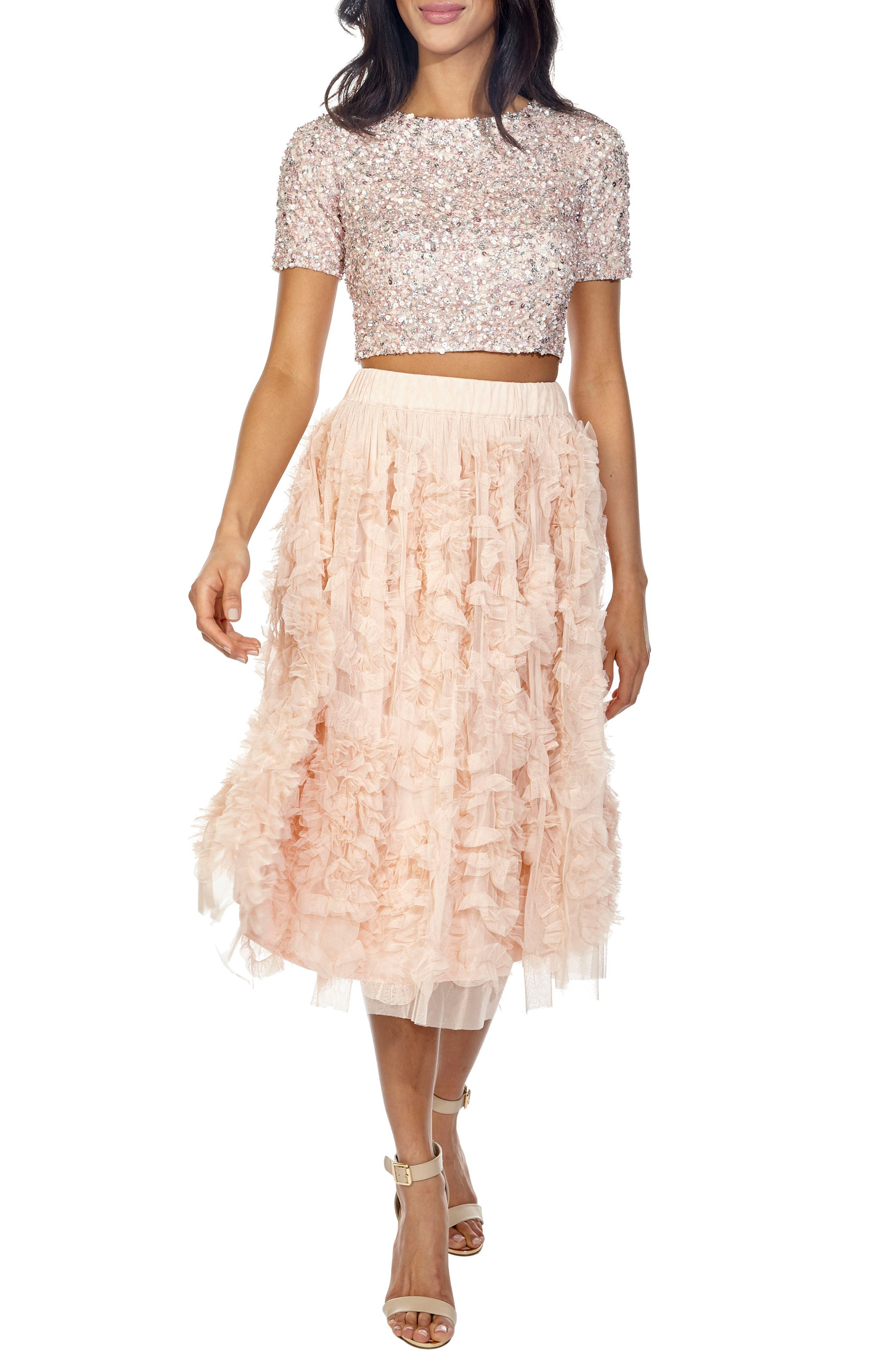 Picasso Sequin Top & Tulle Skirt Combo,                         Main,                         color, Nude