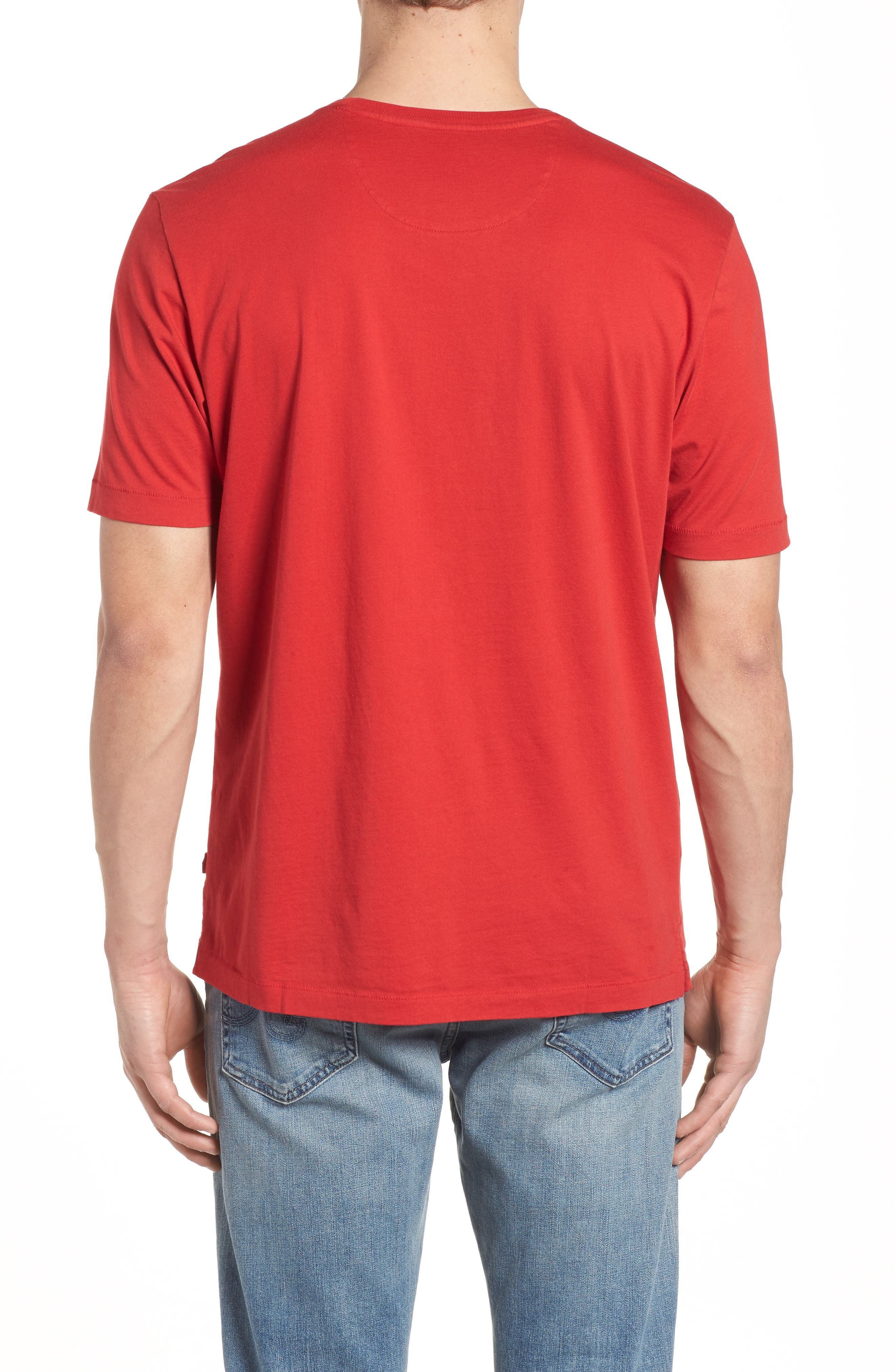 'New Bali Sky' Original Fit Crewneck Pocket T-Shirt,                             Alternate thumbnail 2, color,                             Regal Red