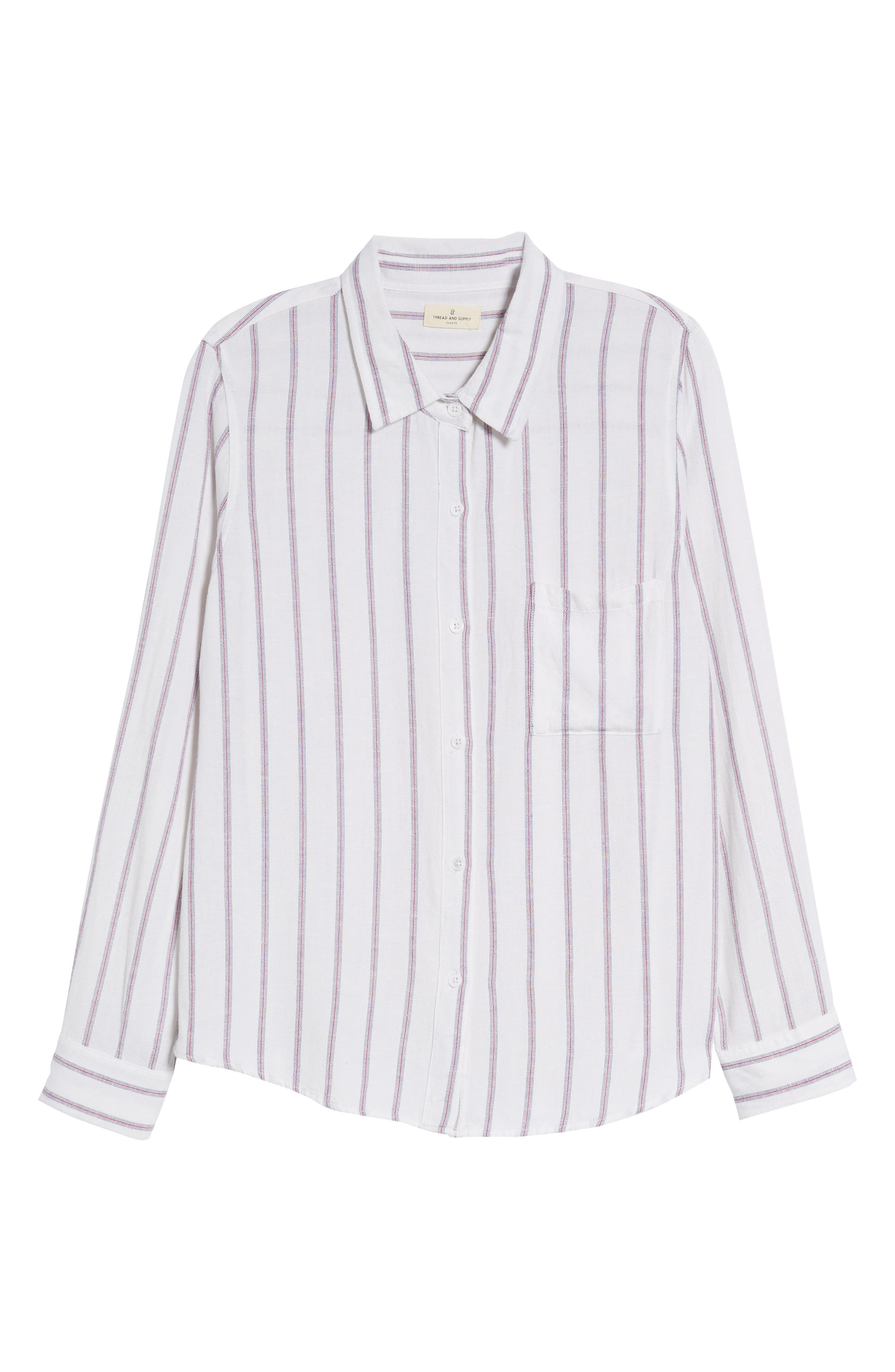 Rose Stripe Shirt,                             Alternate thumbnail 7, color,                             Red Stripe