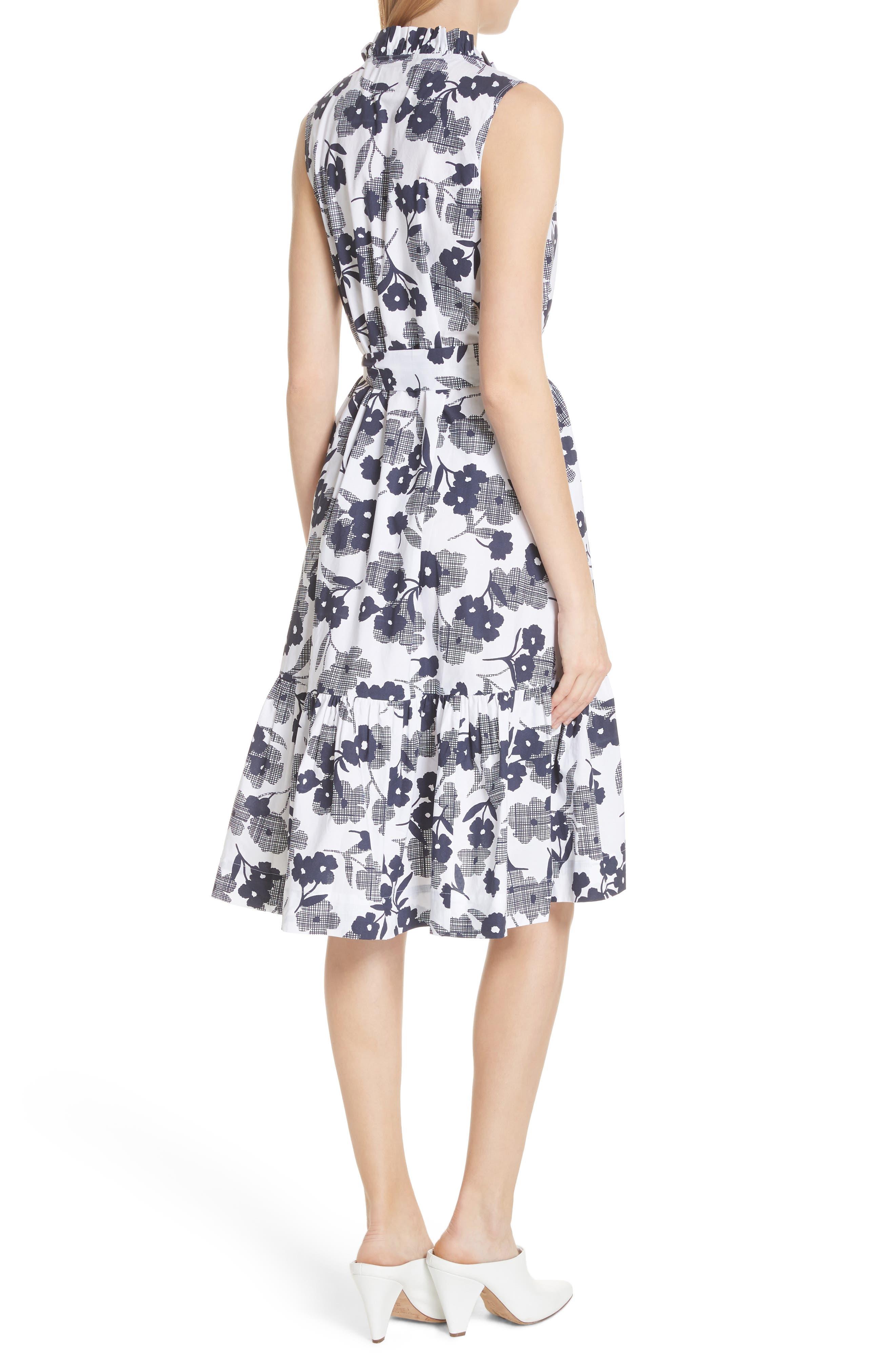 shadows fit & flare poplin dress,                             Alternate thumbnail 2, color,                             Rich Navy