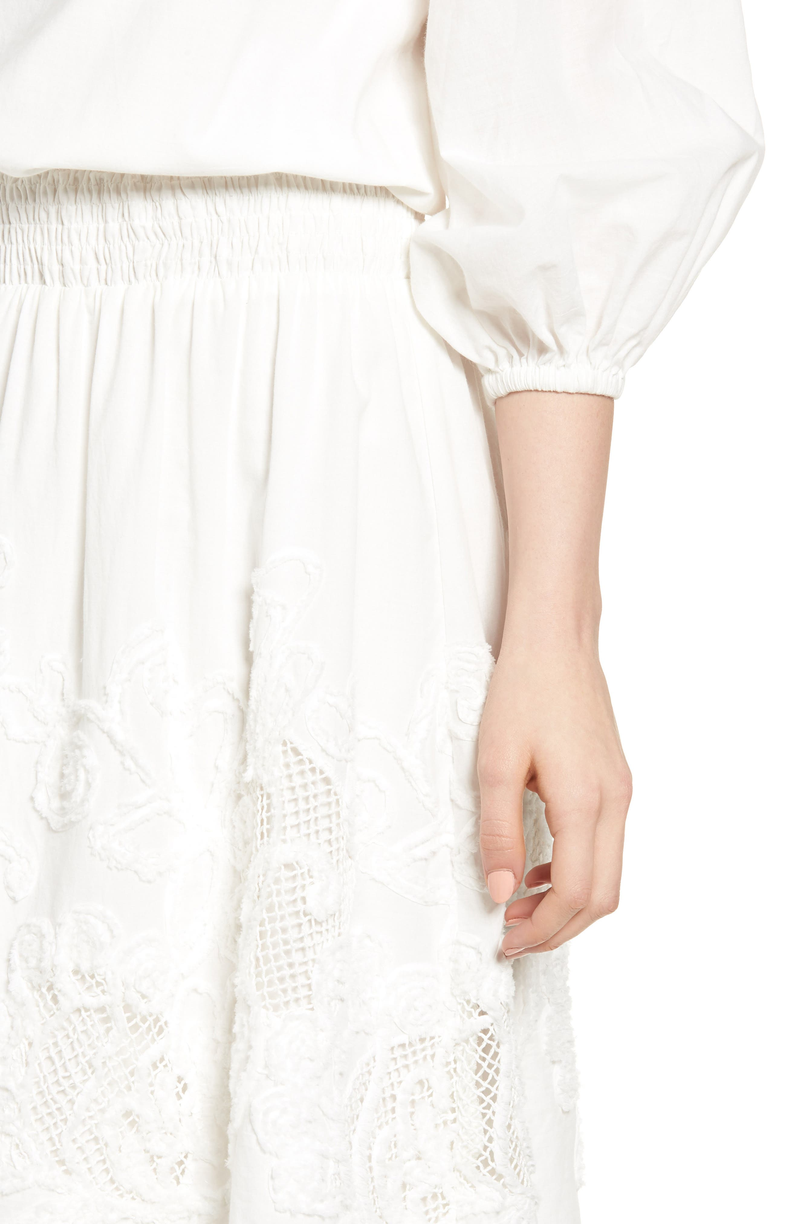 Embroidered Off the Shoulder Blouson Dress,                             Alternate thumbnail 4, color,                             White Snow