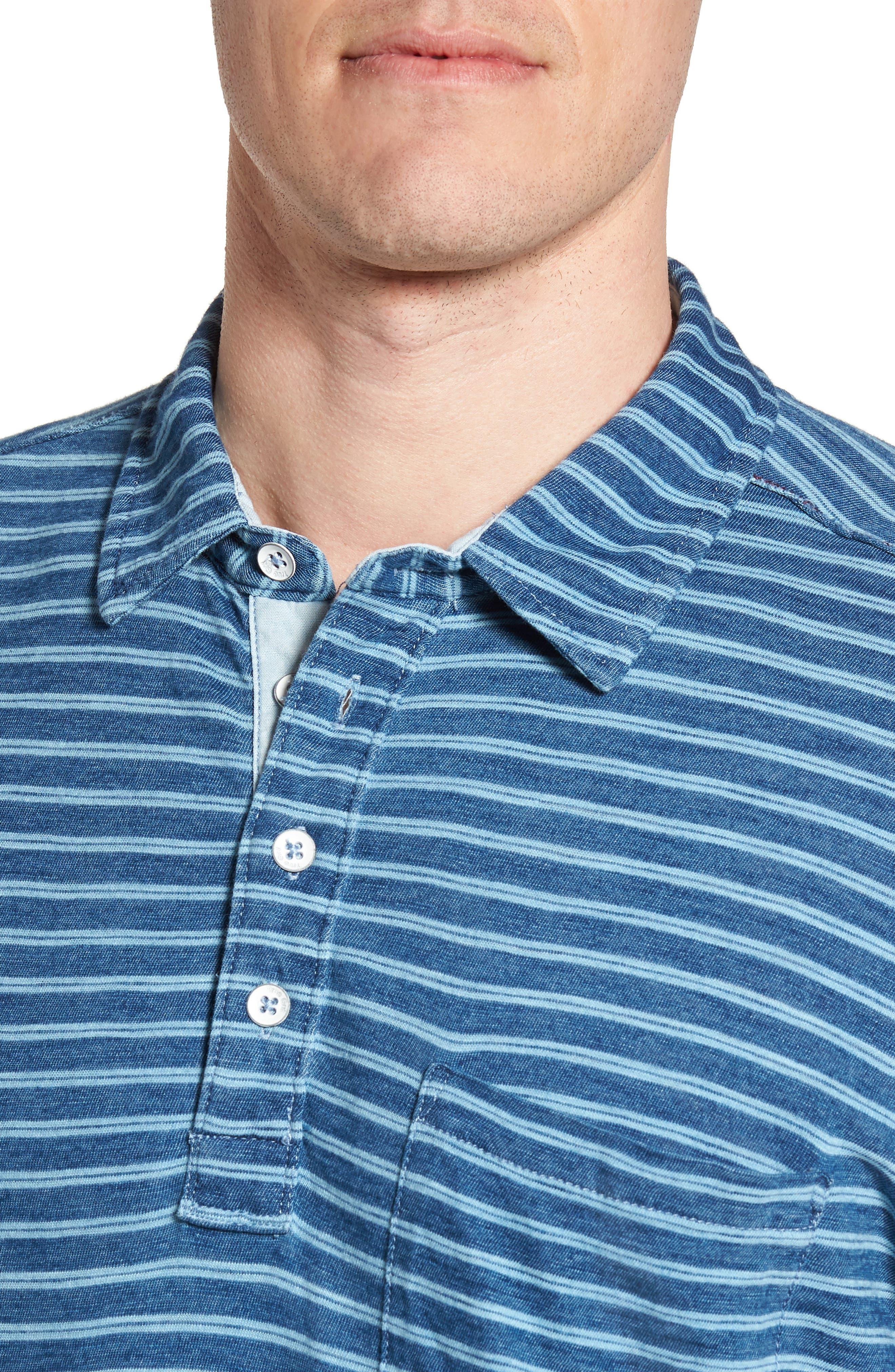 Stripe Jersey Polo,                             Alternate thumbnail 4, color,                             Indigo